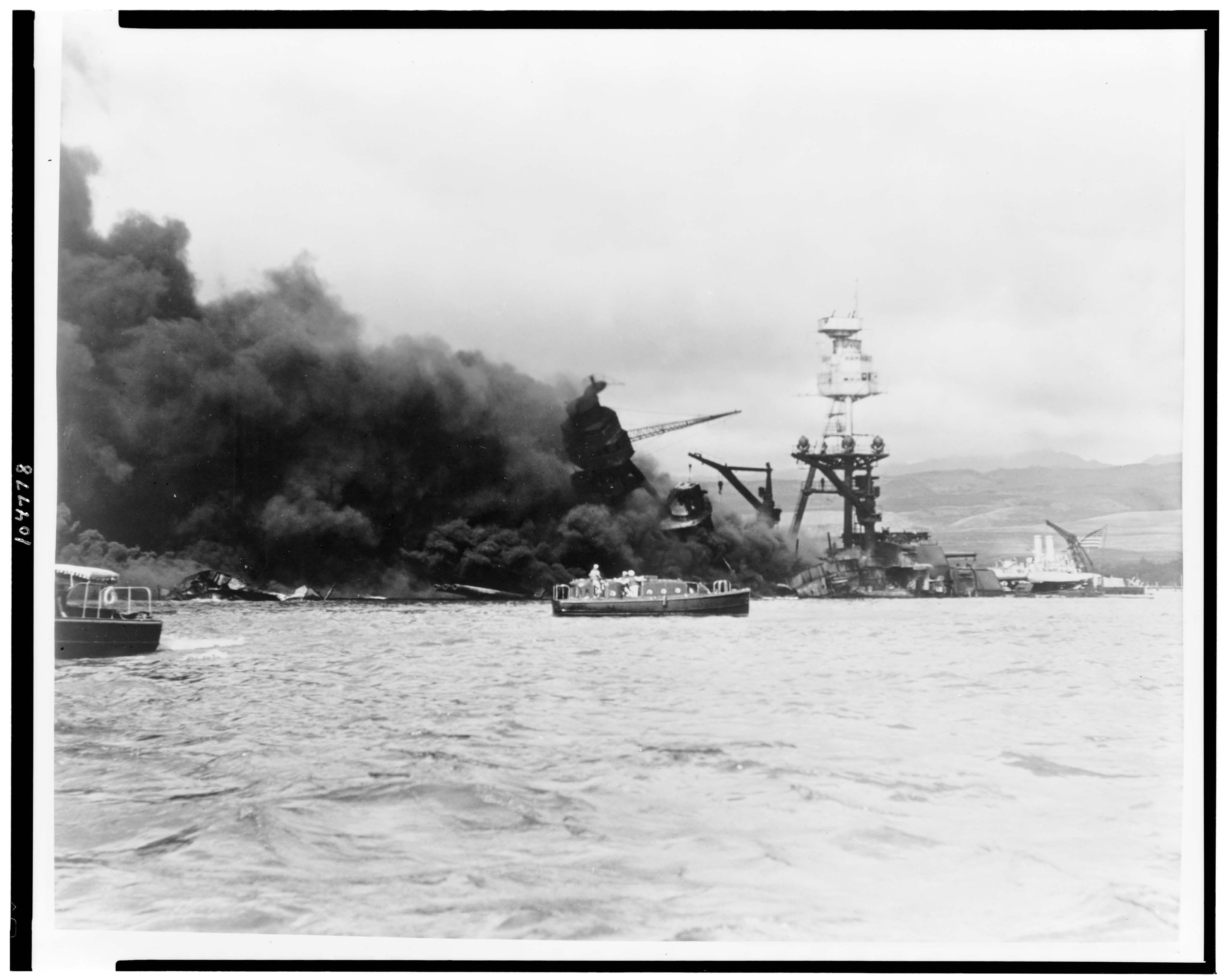 Ship attacked during Pearl Harbor, 1941