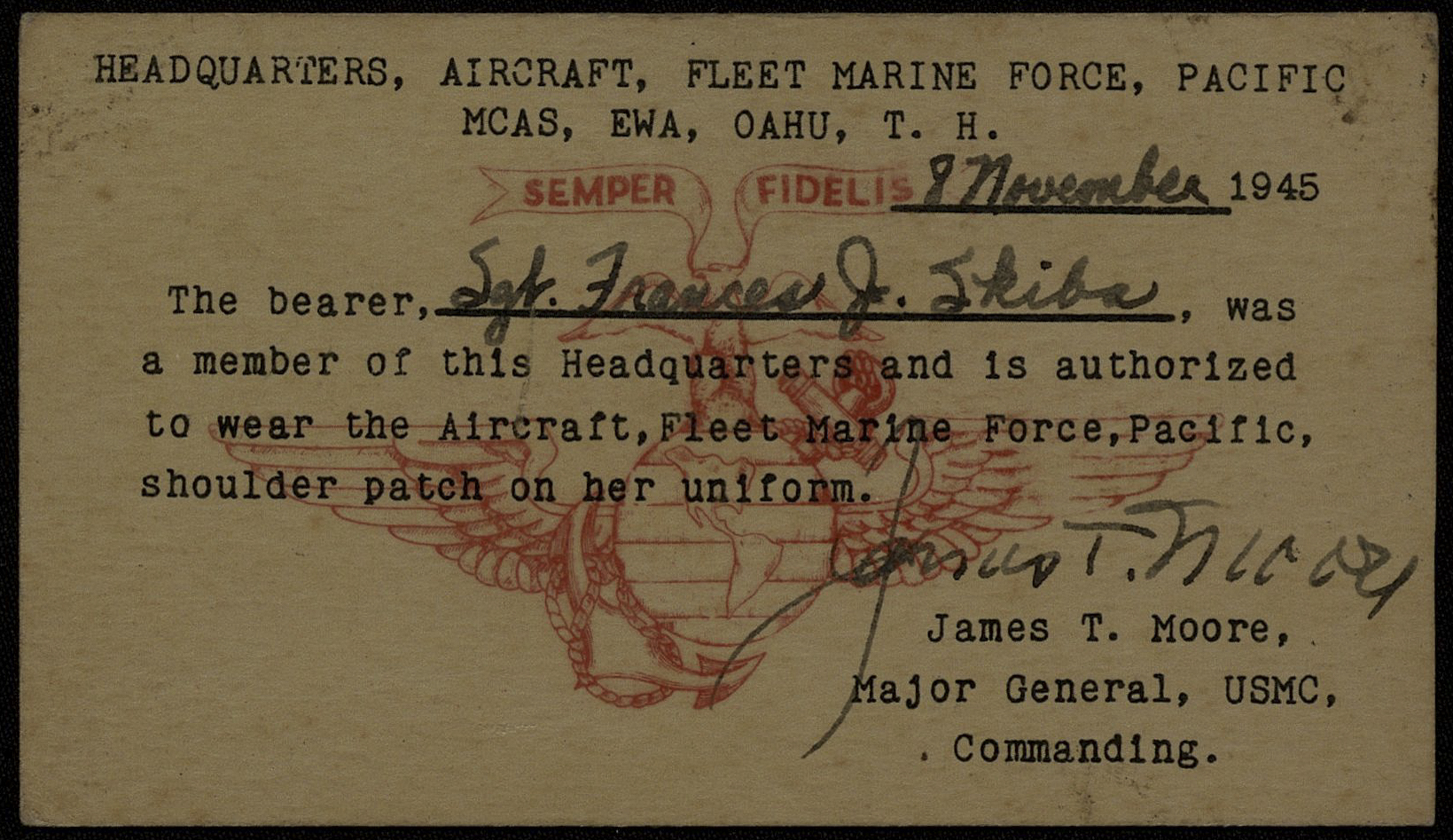 Item from the service of Sergeant Frances Hoffmann (née Skiba), who was a member of the Marine Corps Women's Reserve (MCWR) in the Pacific Theater of Operations