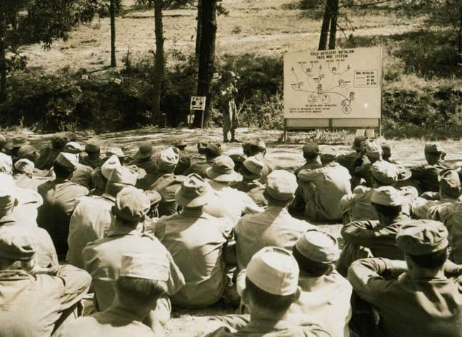Louisiana in WWII special exhibit, photo of soldiers learning field maneuvers