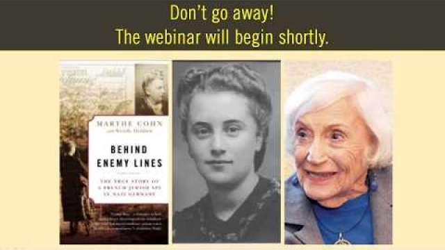 2018 International Holocaust Remembrance Day Webinar: Marthe Cohn