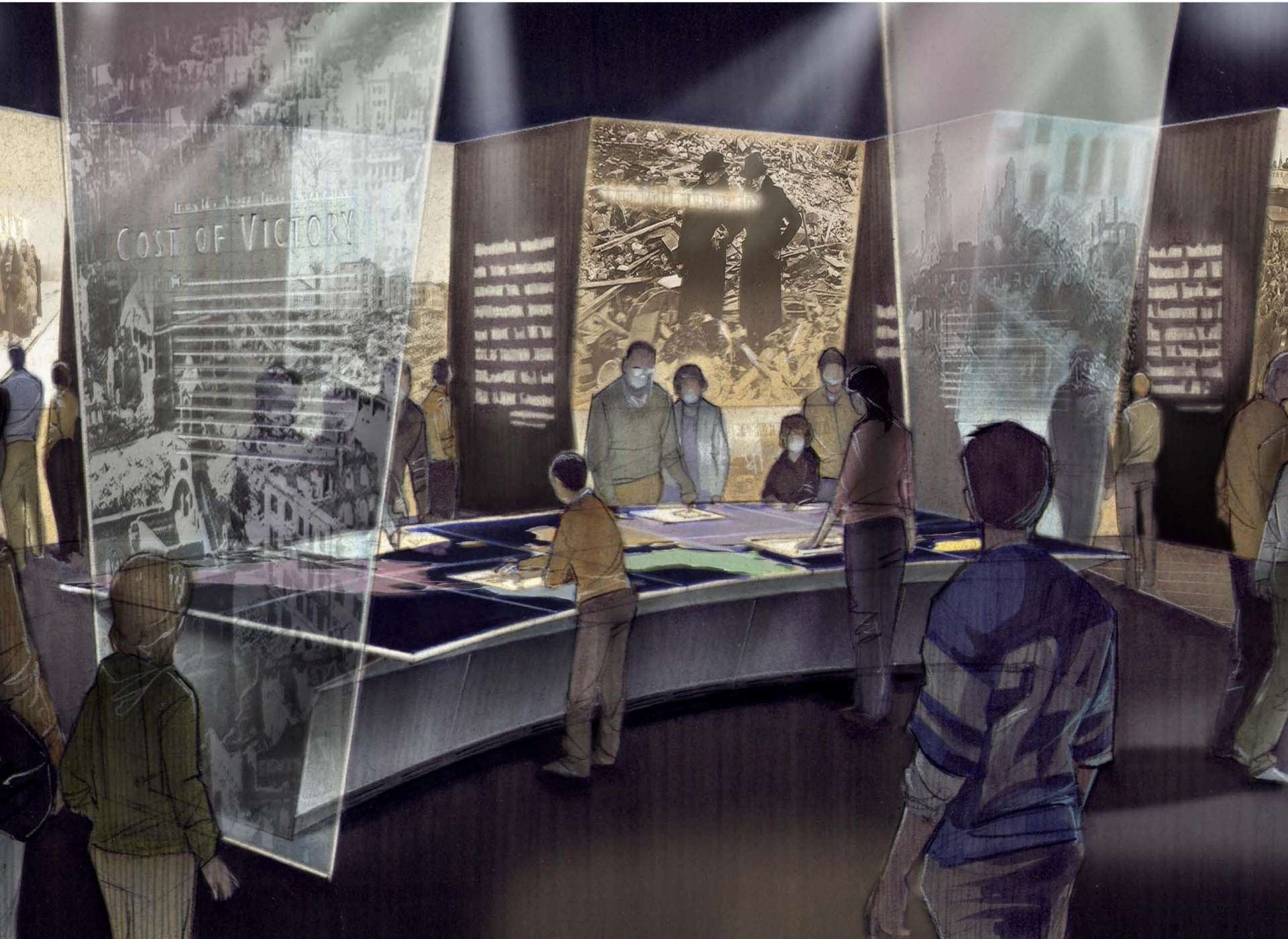Liberation Pavilion Cost of Victory exhibit rendering