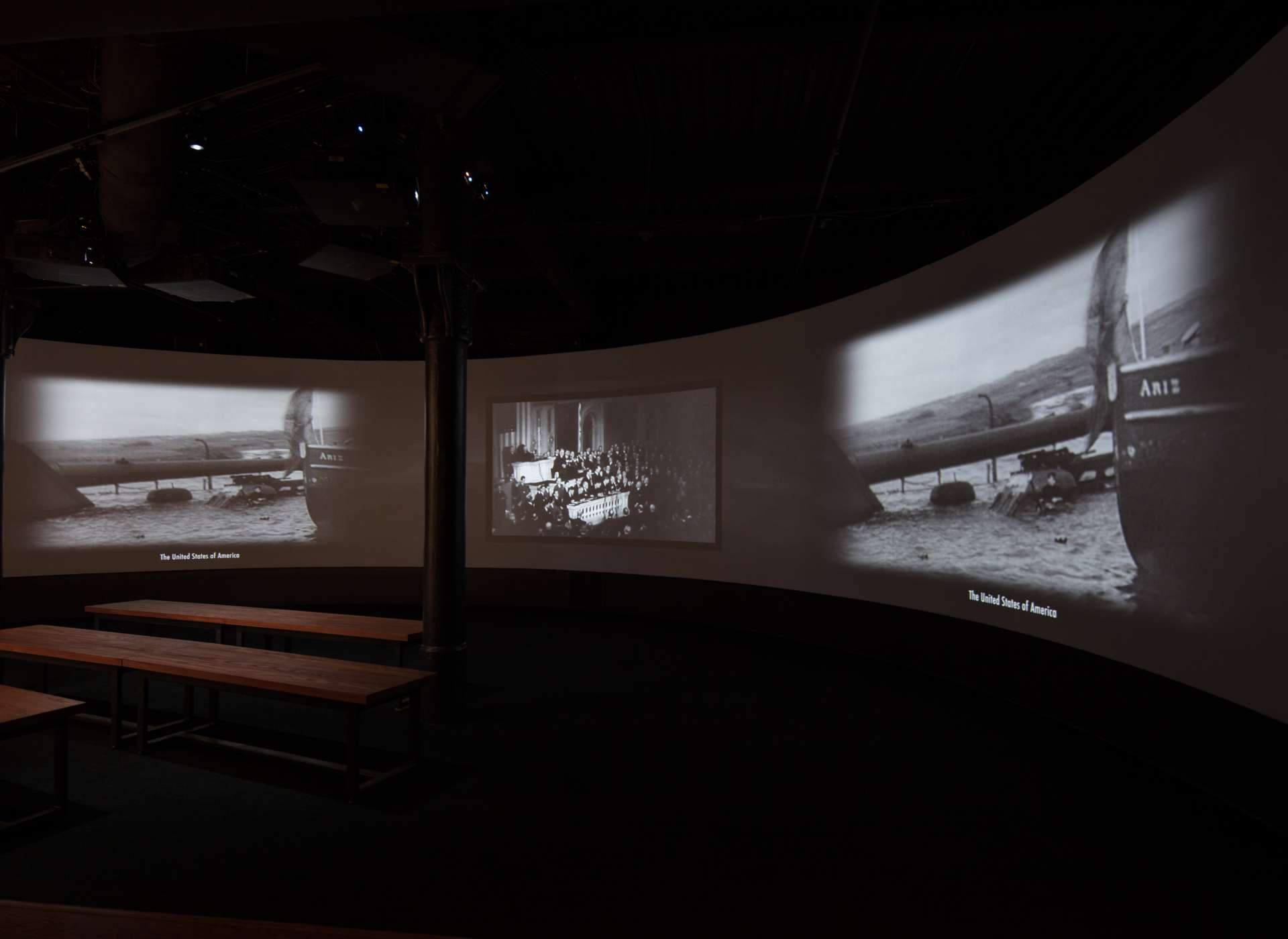 America Besieged gallery, video projections, Arsenal of Democracy