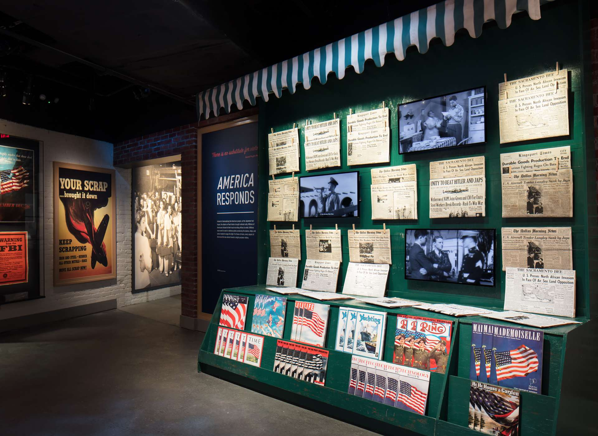 America Responds gallery, newsstand and propaganda posters, Arsenal of Democracy