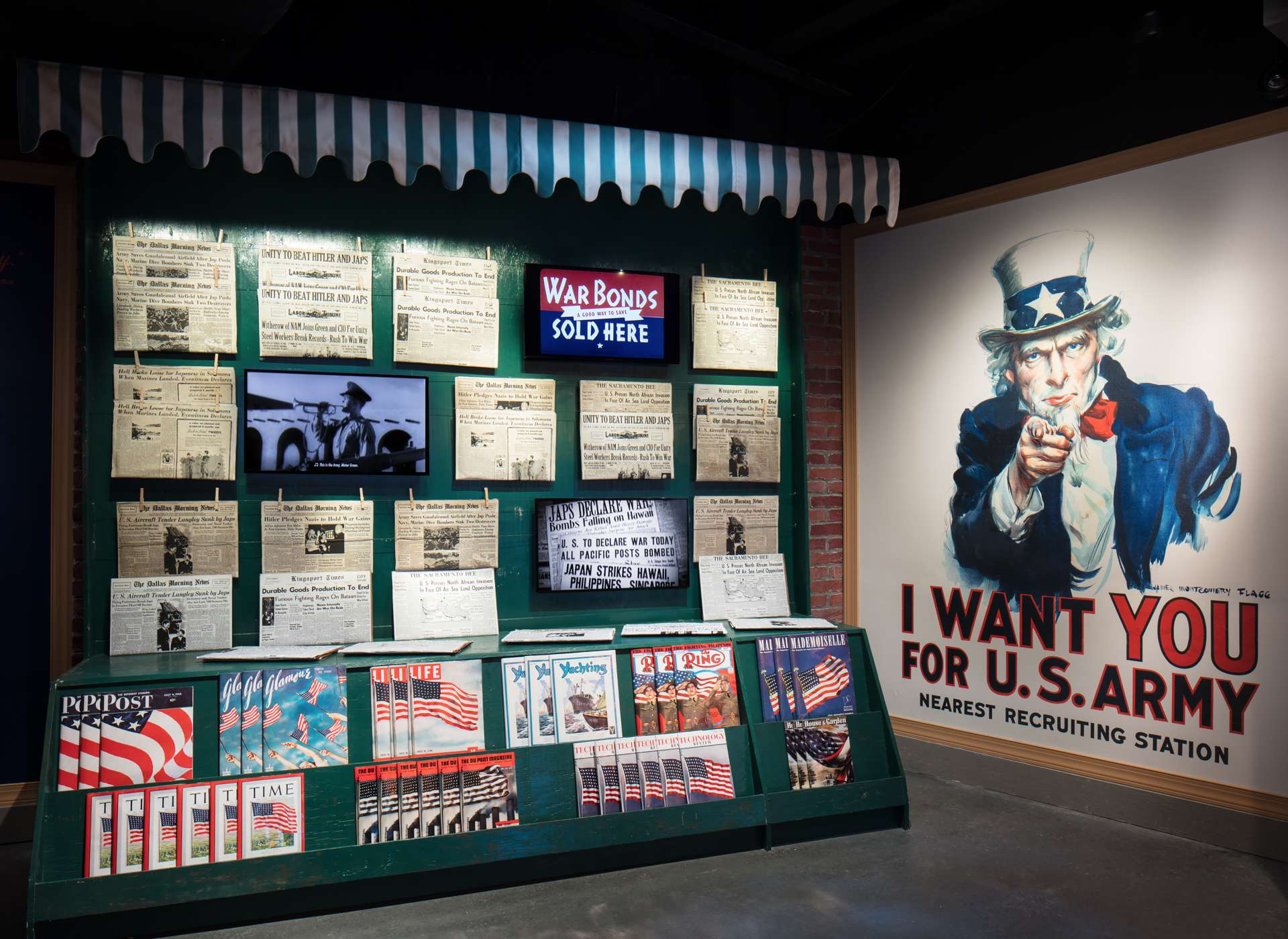 America Responds gallery, newsstand and Uncle Sam propaganda poster, Arsenal of Democracy