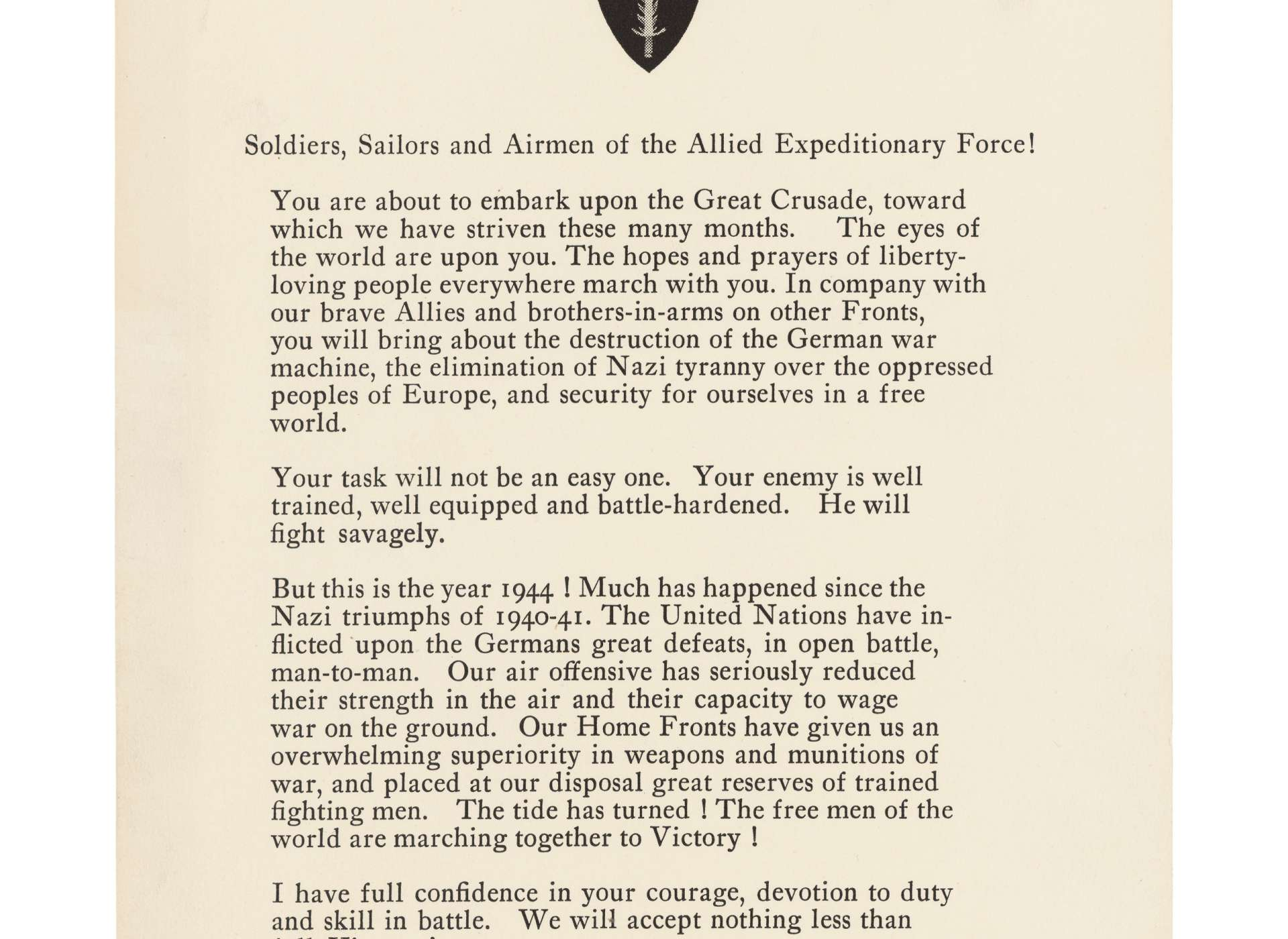 General Dwight Eisenhower's Order of the Day