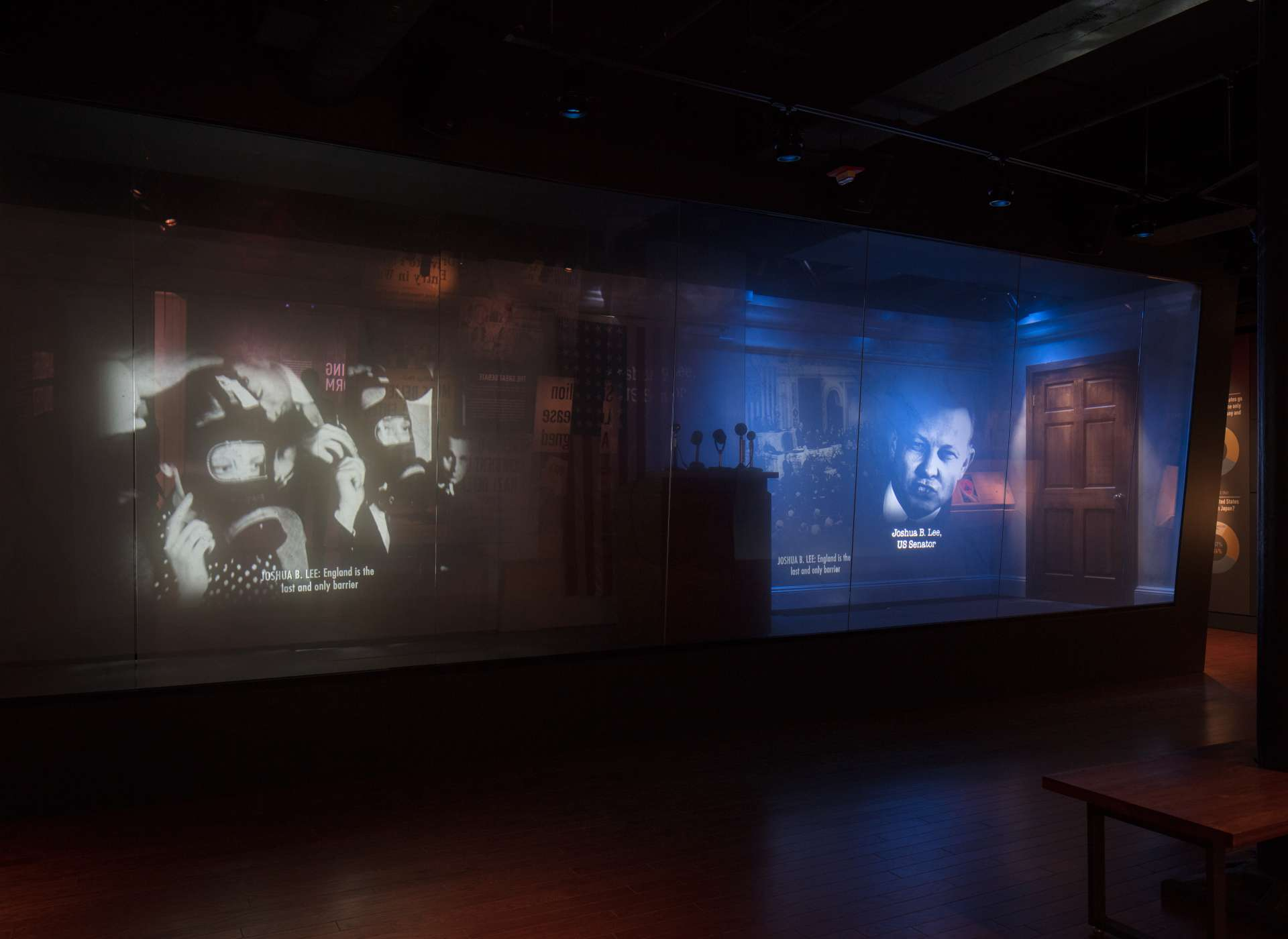 Discordant Voices gallery video projections, Arsenal of Democracy