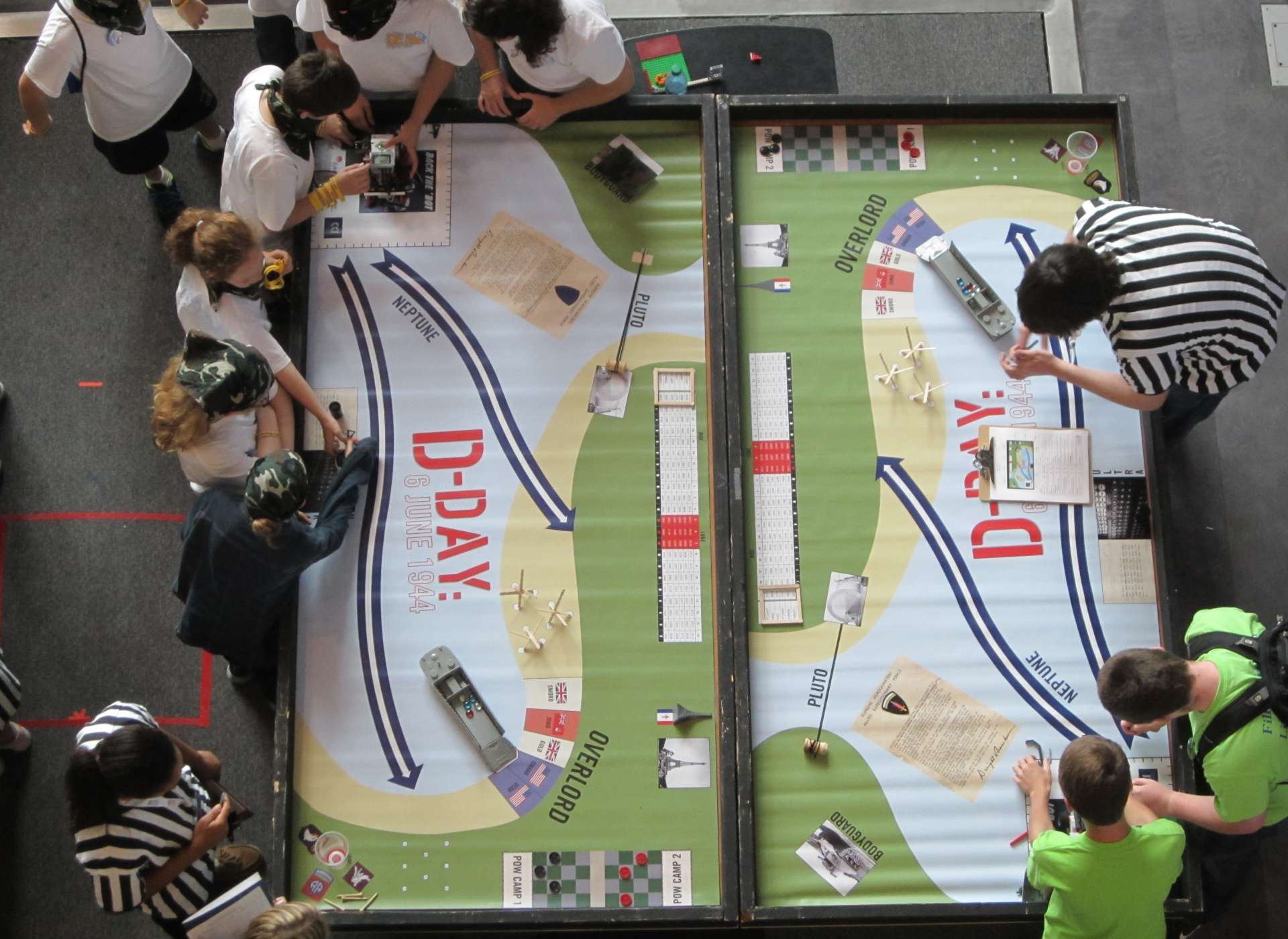 Aerial view of Robotics Challenge playing field