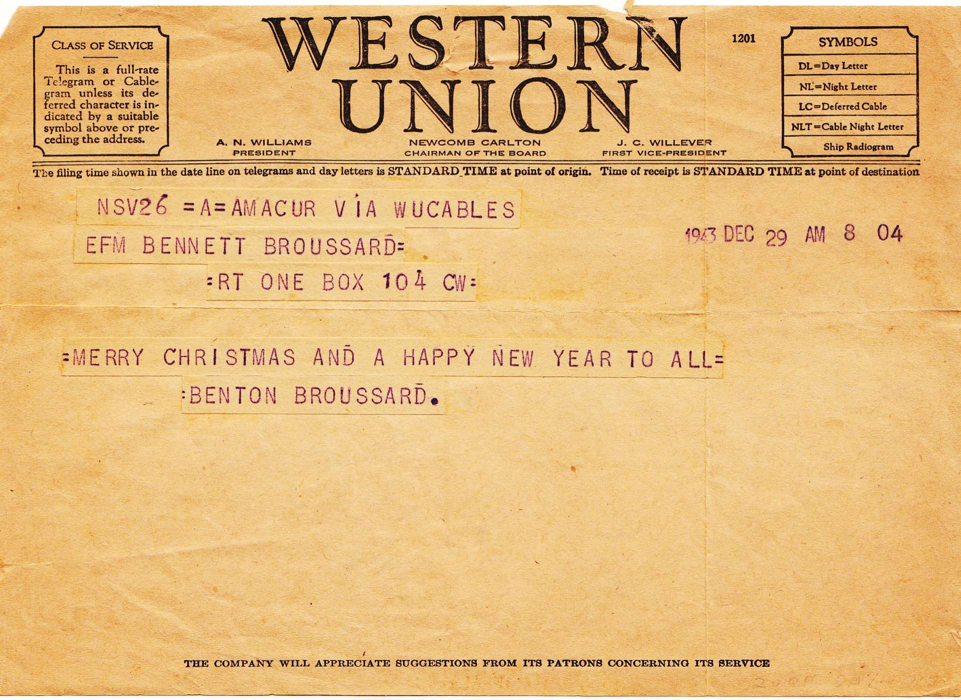 broussard christmas telegram