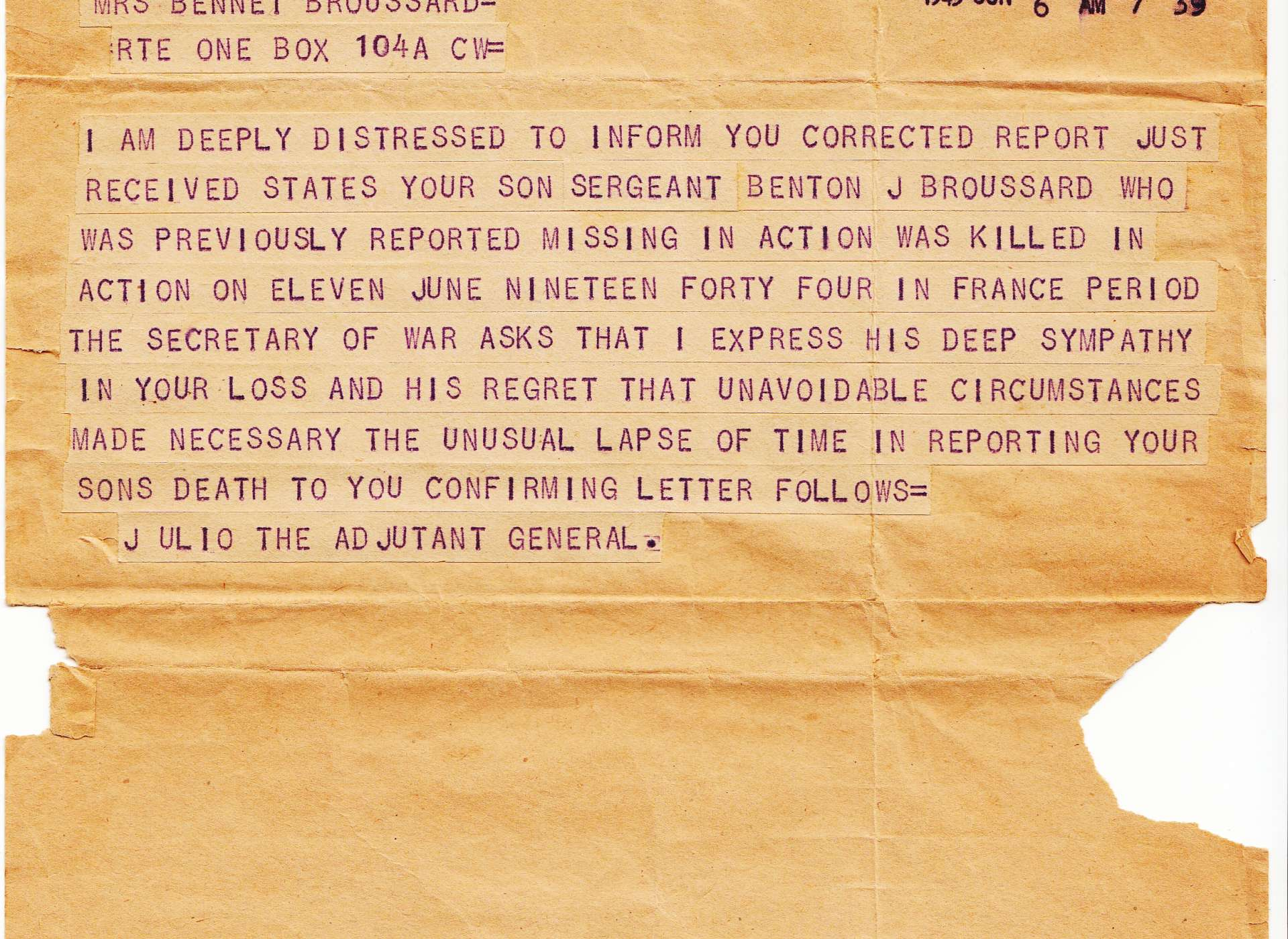 broussard death telegram