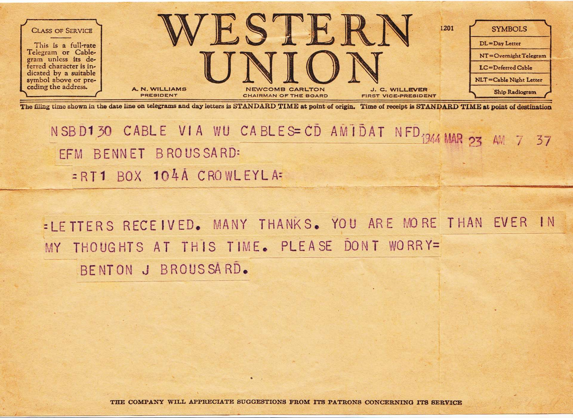 broussard telegram home