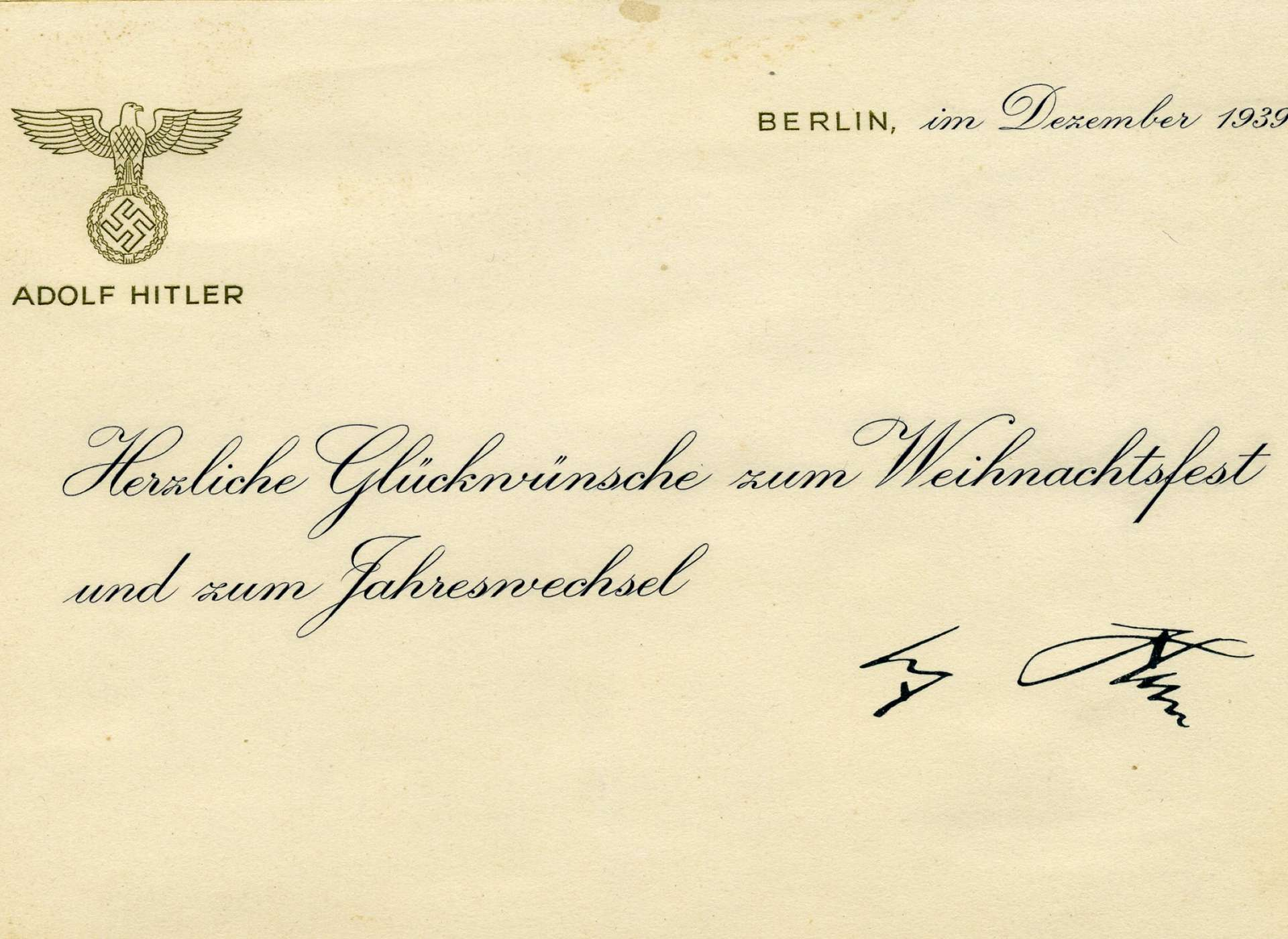 Christmas card from Adolph Hitler, recovered by Larry Hirshbach