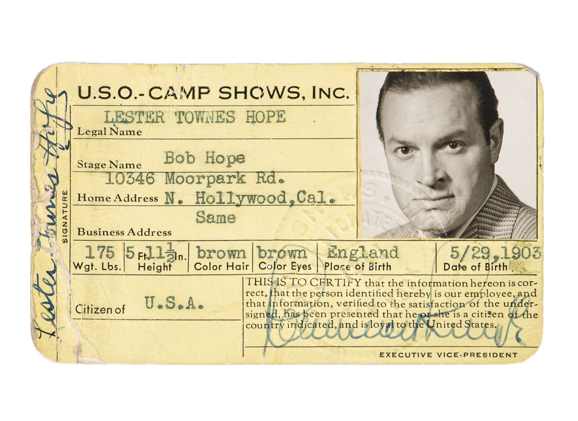 USO Camp Shows ID for Bob Hope