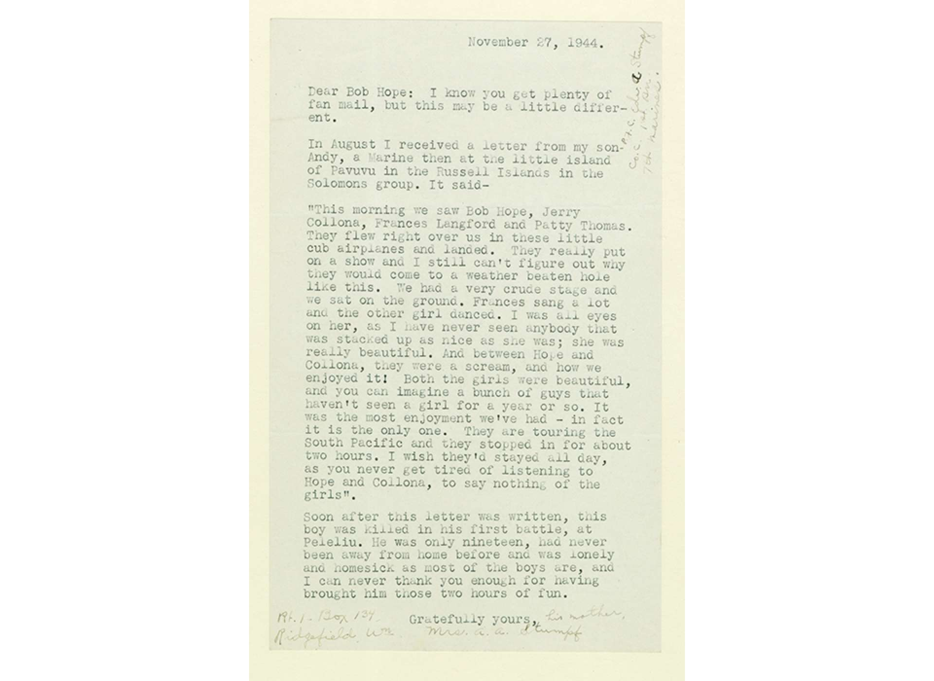 Letter to Bob Hope from Mrs. A. A. Stumpf