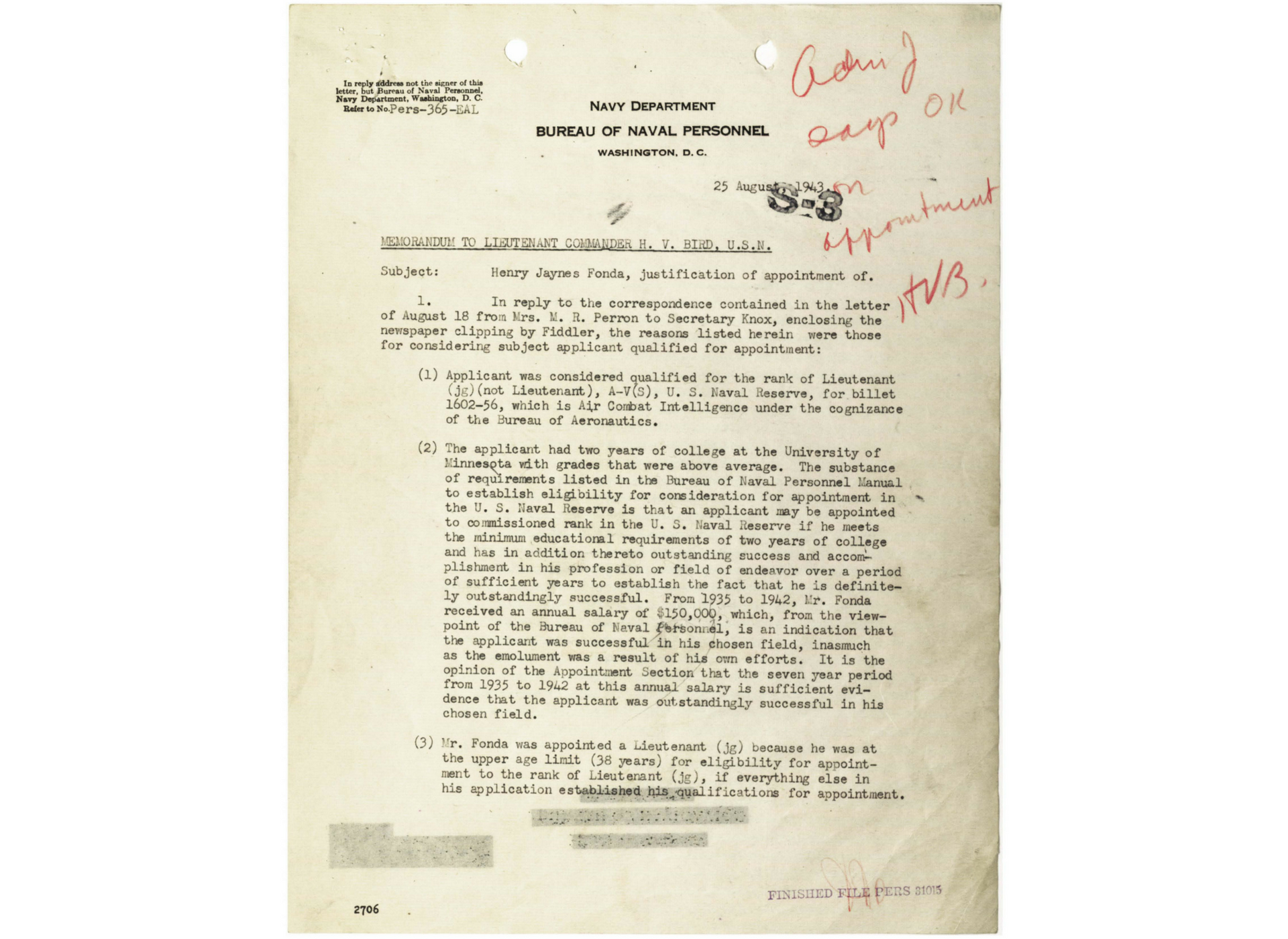 A letter justifying the appointment of Fonda to Lieutenant, junior grade. From the National Archives.