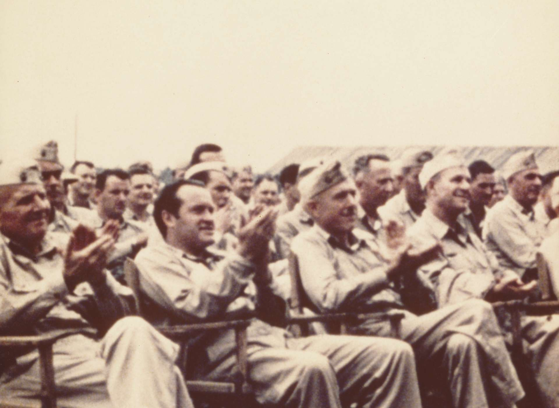 Bob Hope watching his troupe perform on Pavuvu, August 1944