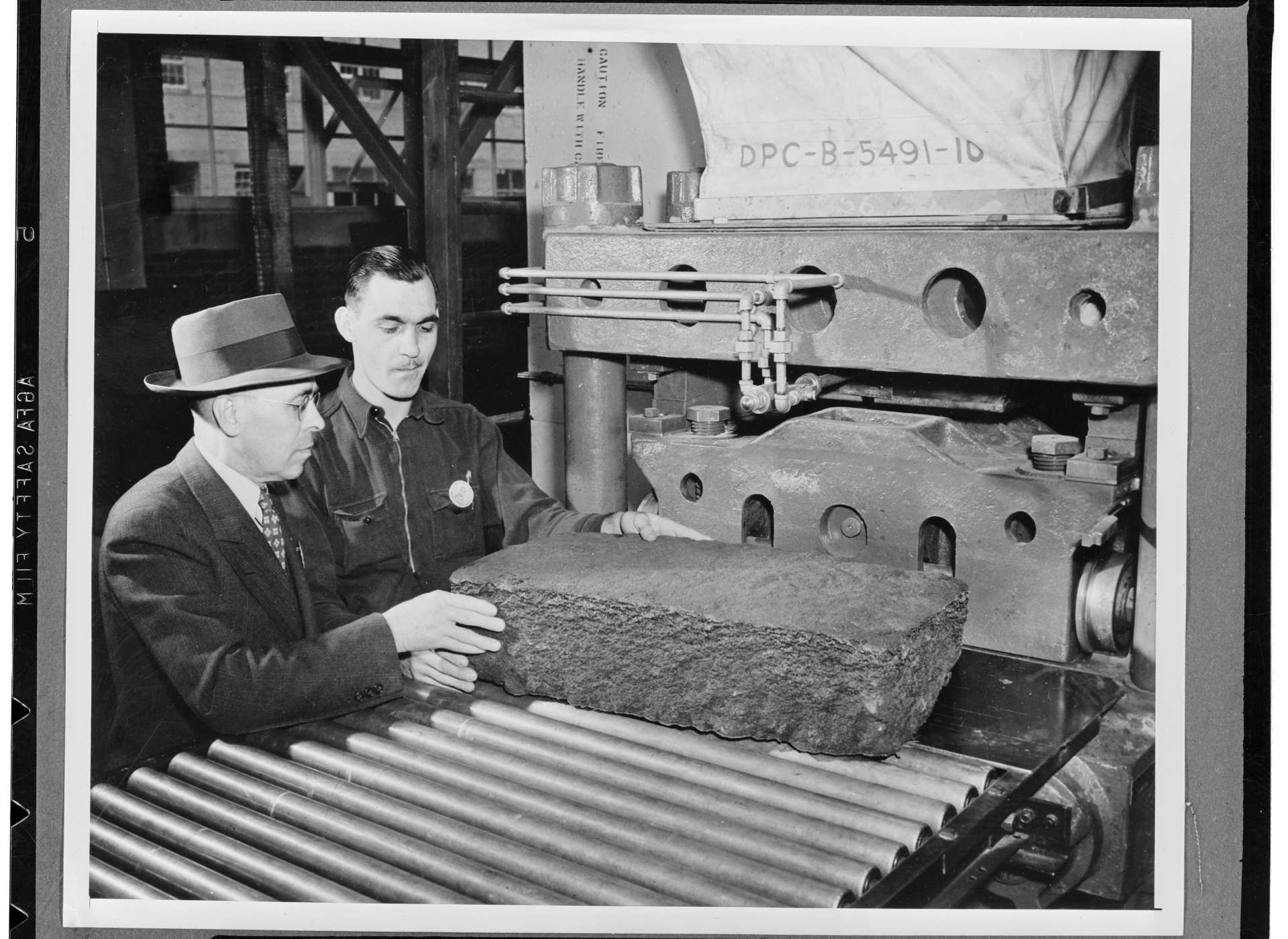 Synthetic rubber production, ca. 1940.
