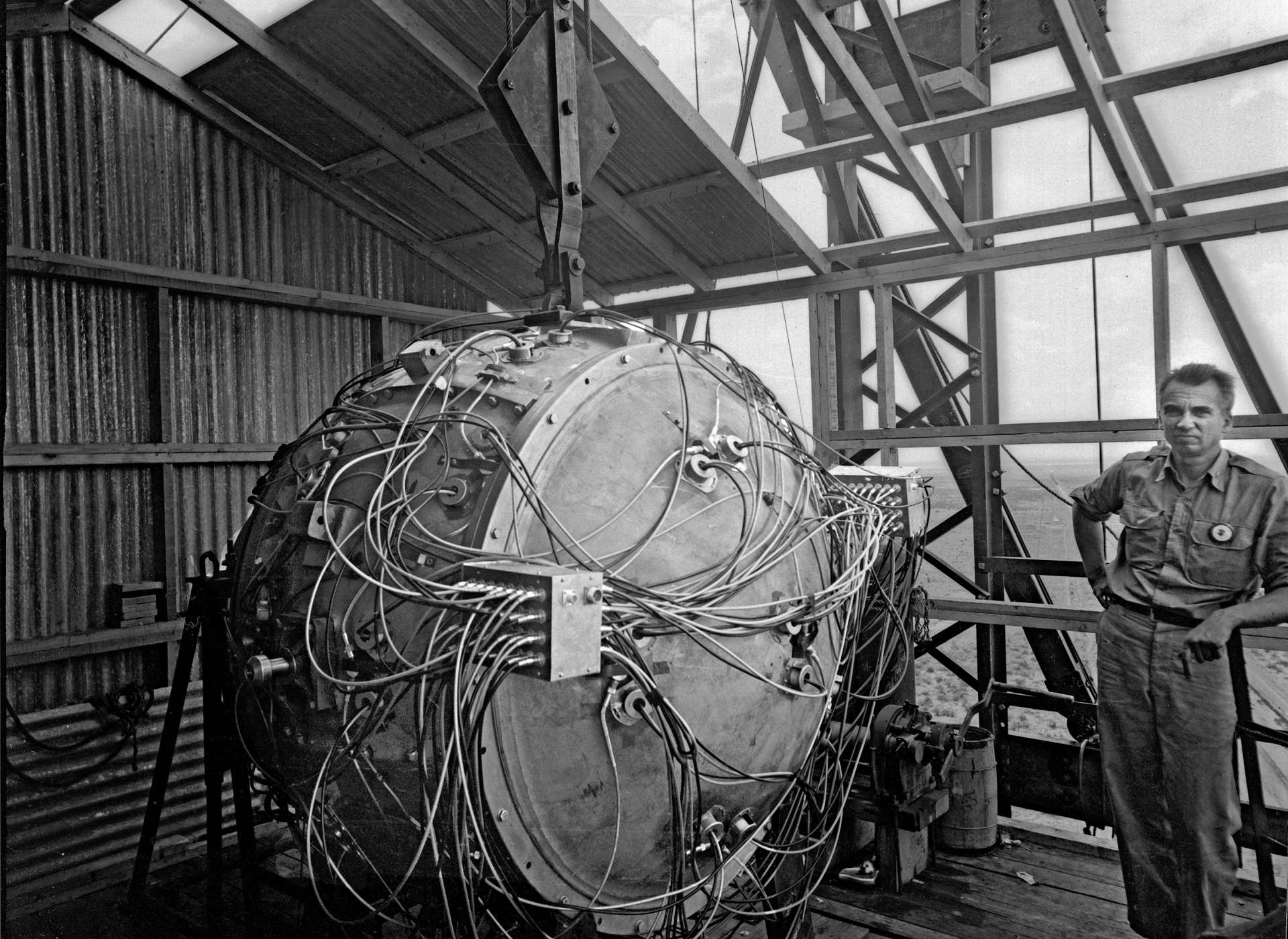 Gadget before Trinity Test, 1945.