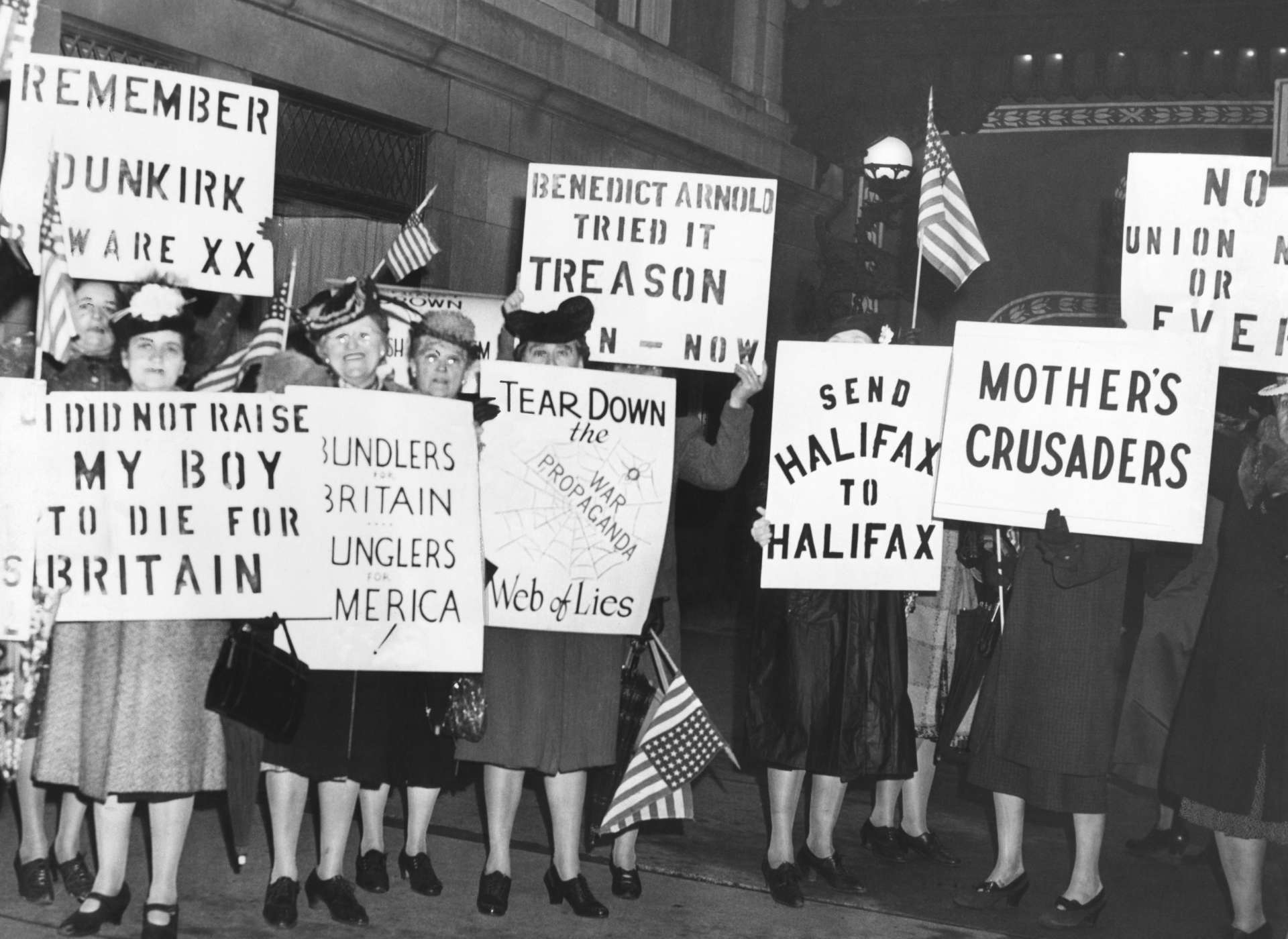 Female isolationists from the America First Committee, Keep America Out of War, and the Mothers' Crusade picket British Ambassador Lord Halifax in Chicago, May 8, 1941.