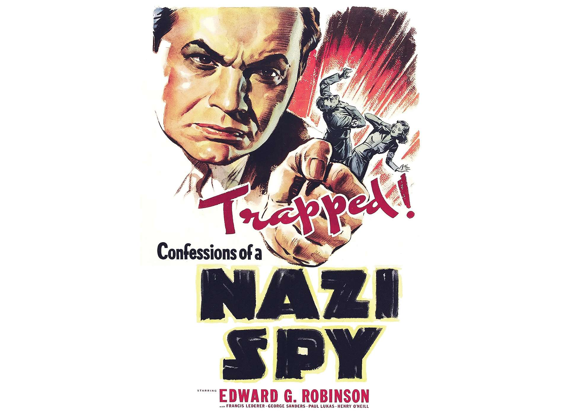 Poster advertising Warner Brothers' Confessions of a Nazi Spy, 1939.