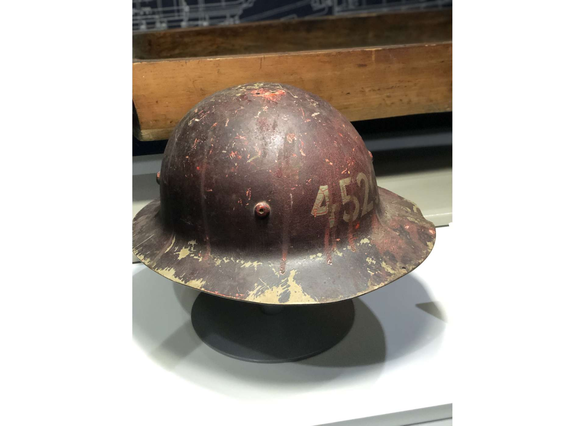 The Higgins Industries hard hat of Joseph R. Poche, who apprenticed in the machine shop at the Higgins City Park plant.