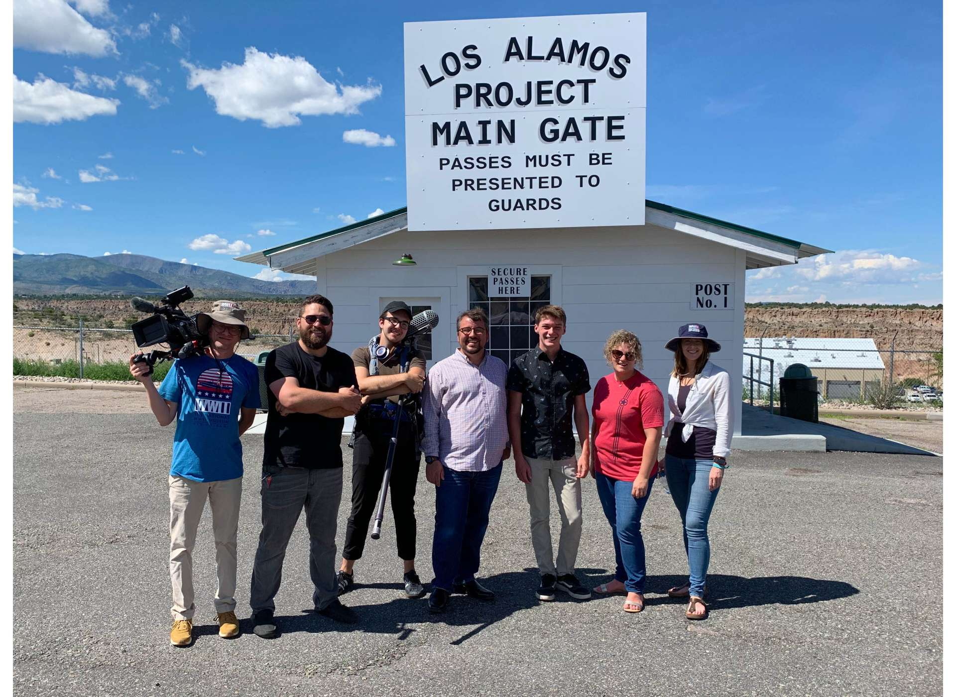 Film crew at the replica guard gate in Los Alamos, New Mexico