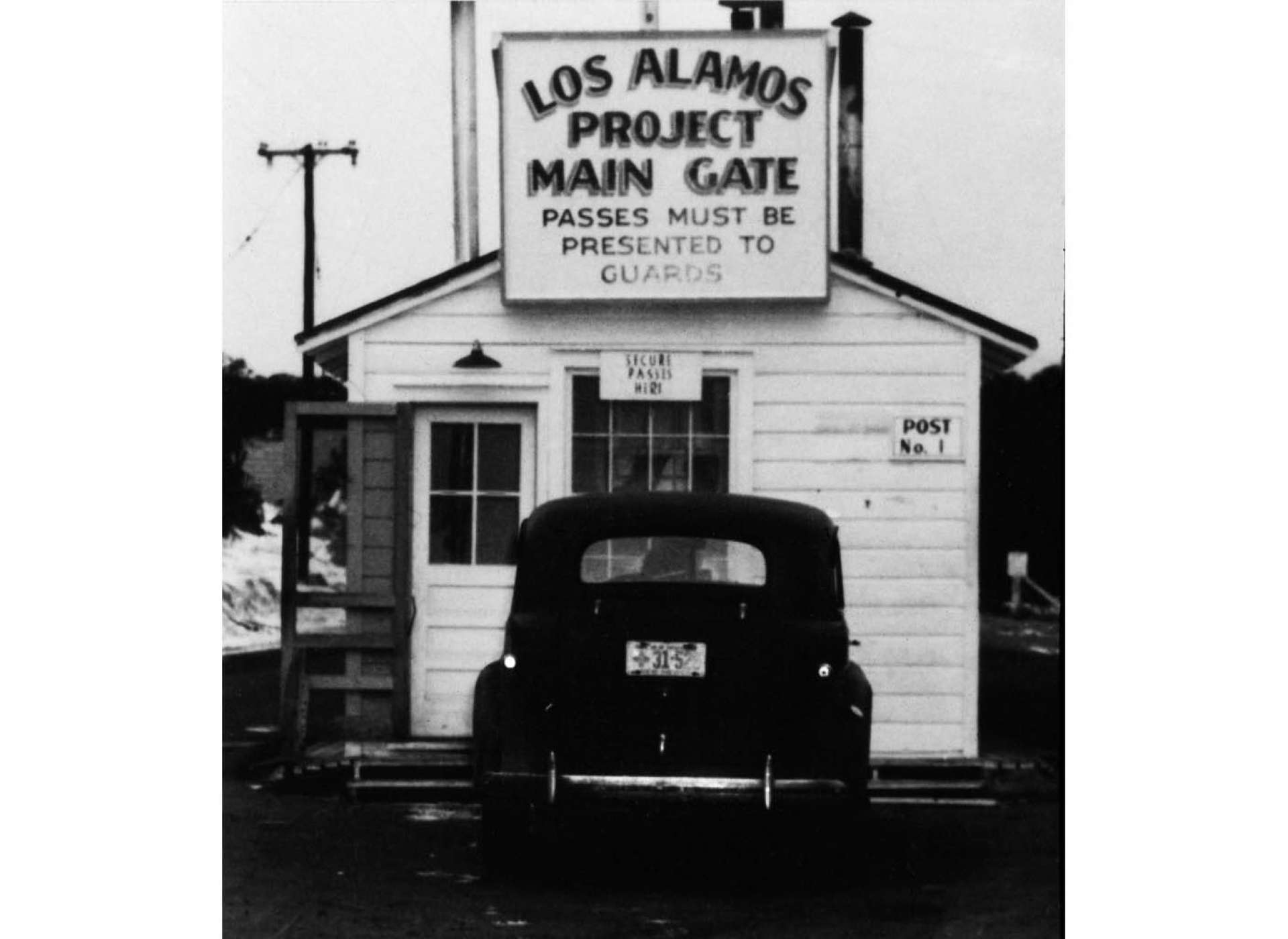 1943 Los Alamos Project Main Gate. Courtesy of Los Alamos National Laboratory.
