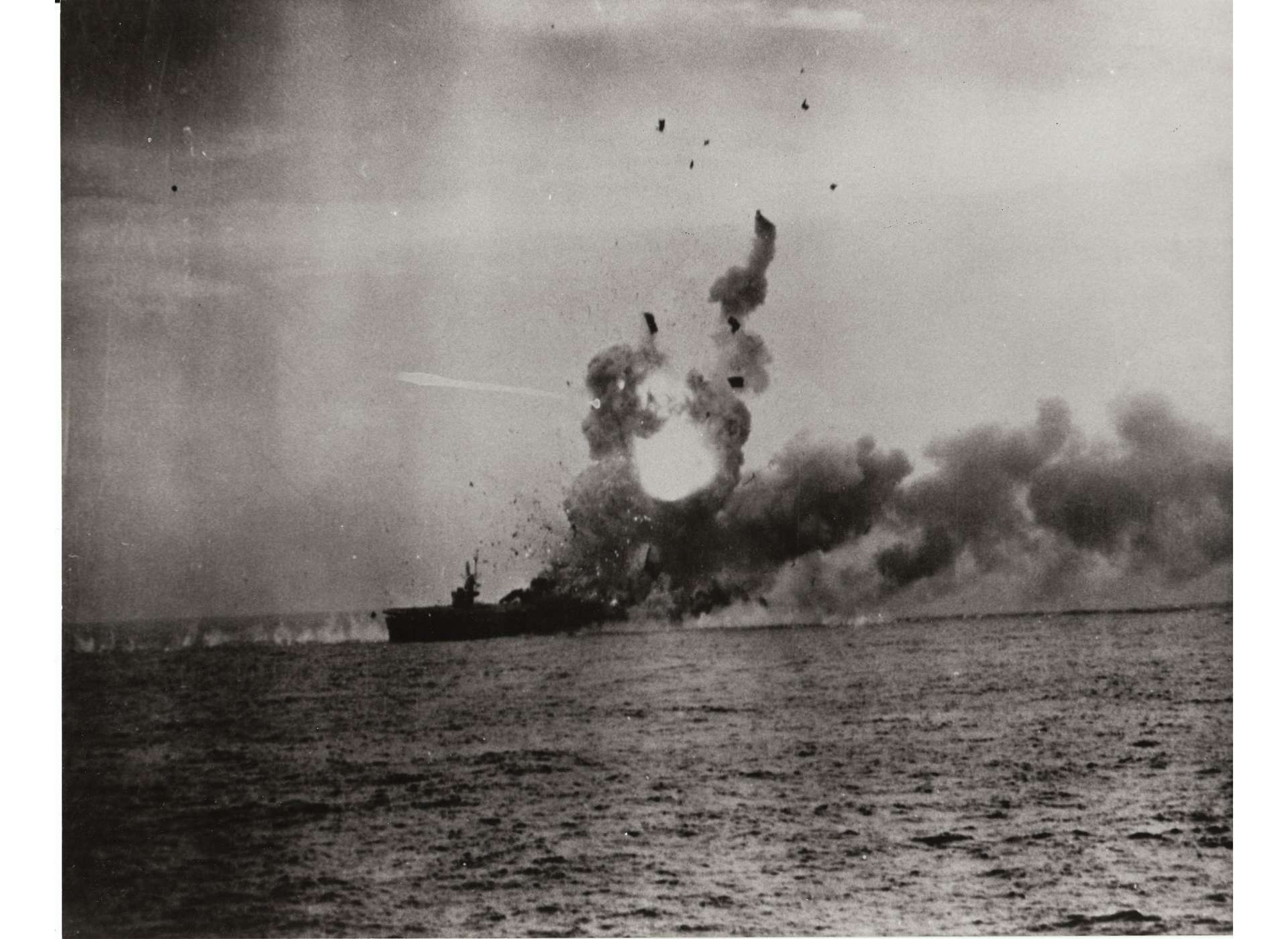 USS St. Lo is hit by a Japanese kamikaze during the Battle off Samar on October 25, 1944.