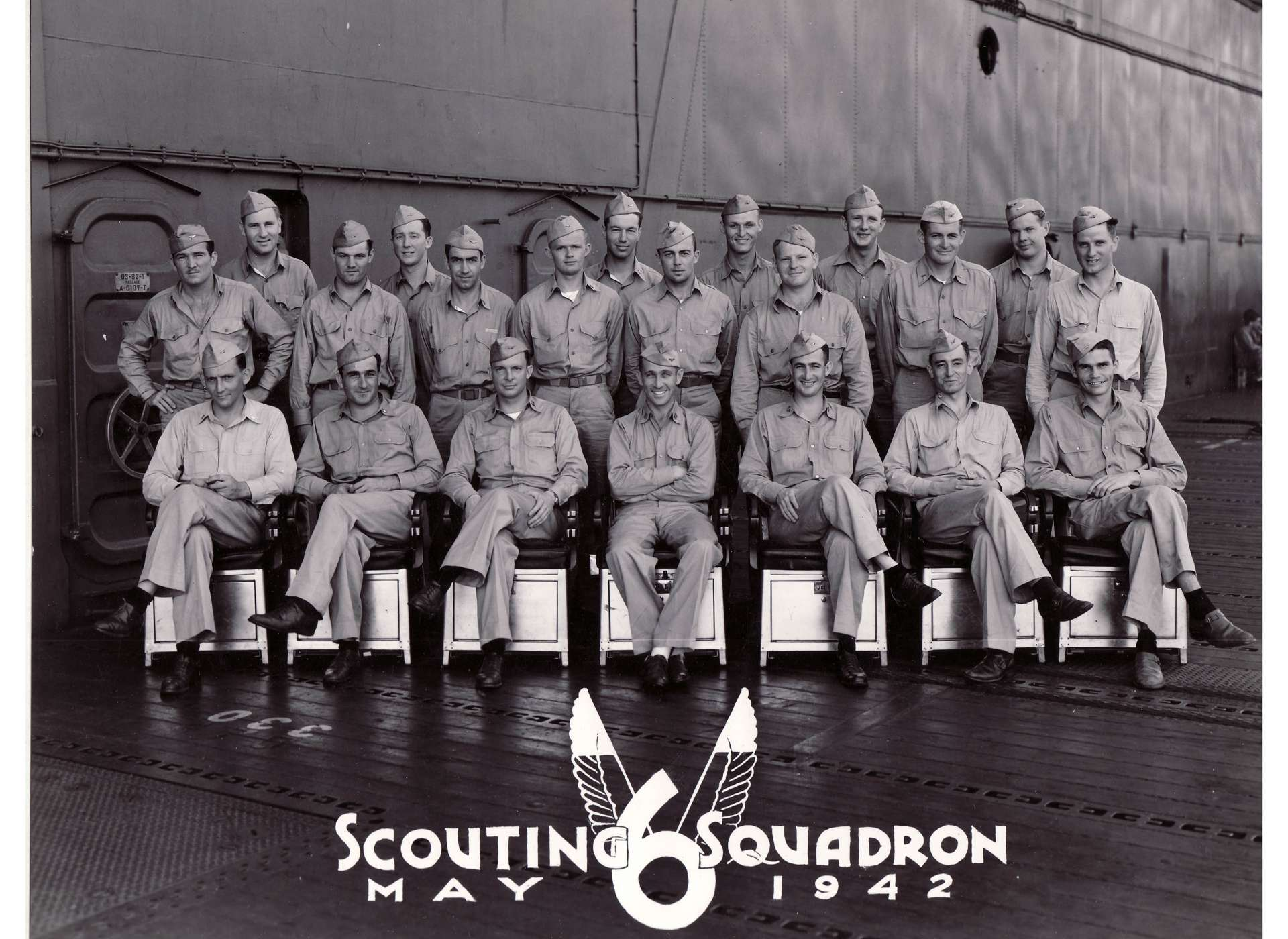VS-6 pilots in 1942. Dusty Kleiss sitting second from right.