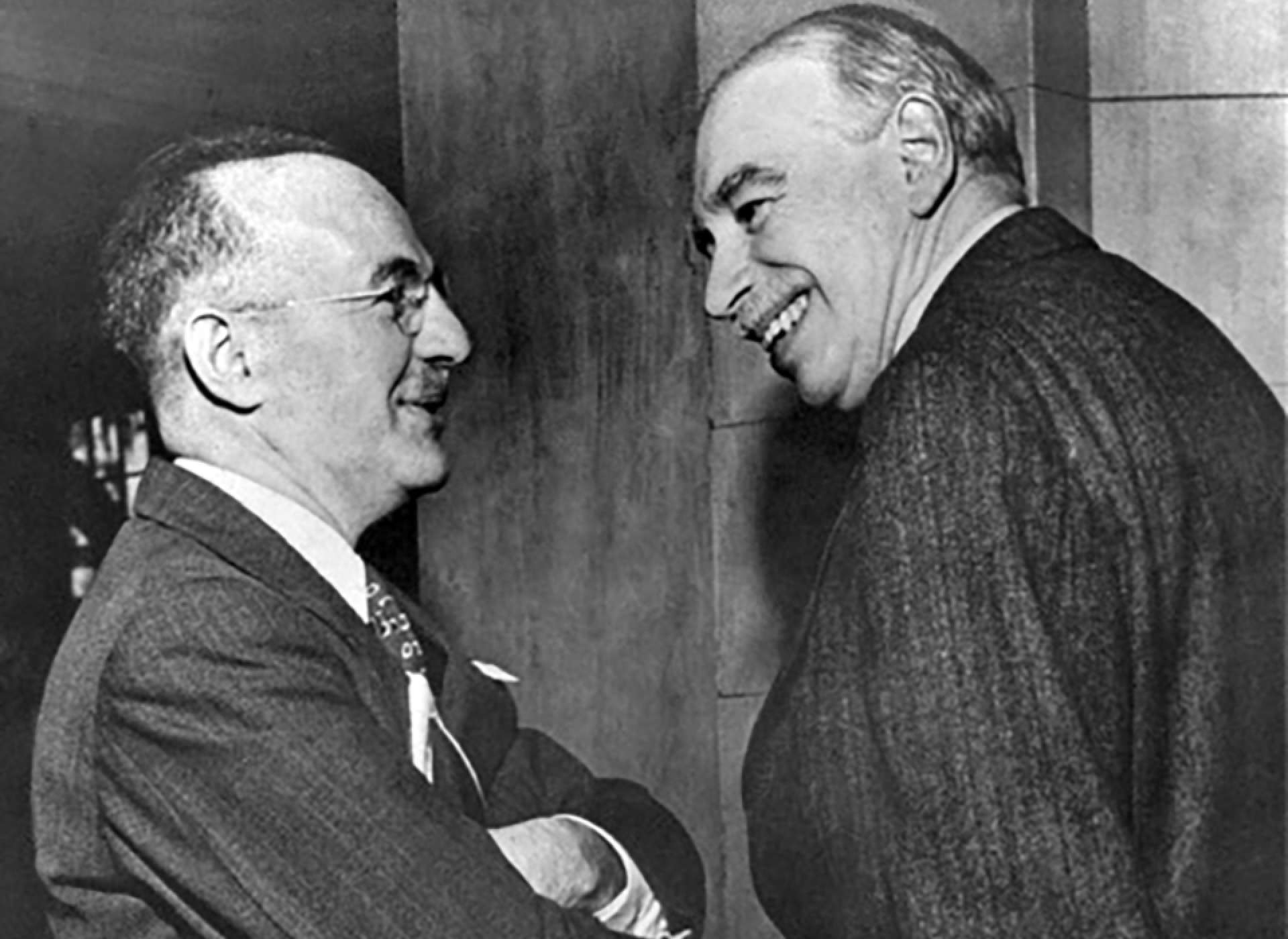 Harry Dexter White and John Maynard Keynes at Bretton Woods, July 1944