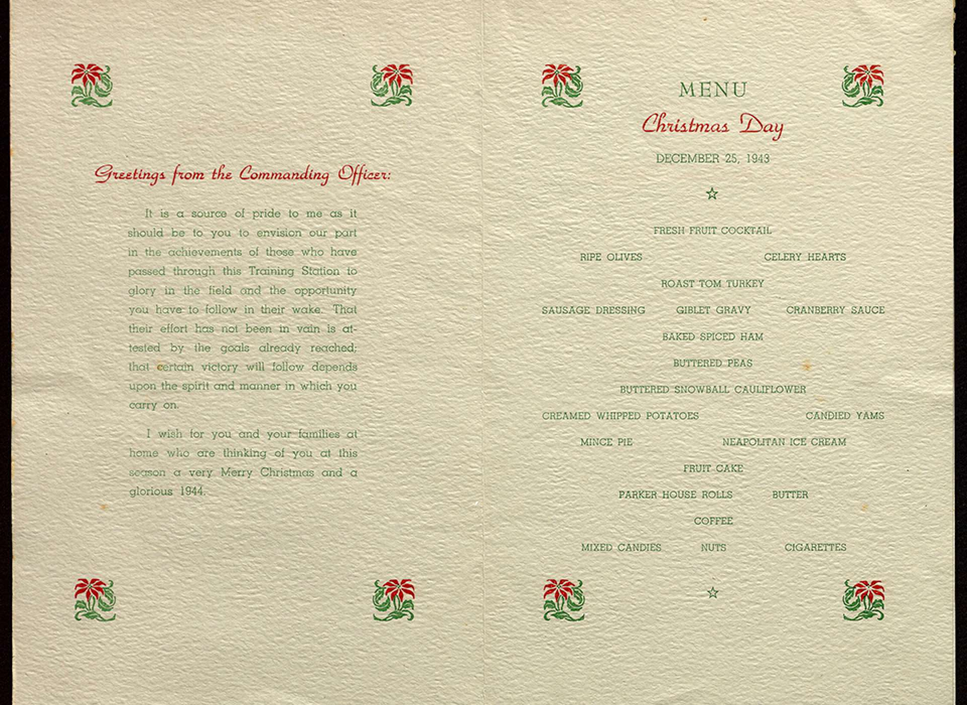 1943 Christmas Menu from the US Naval Training Station, San Diego. Gift of Suzanne Davis Gillespie, 2008.215.010