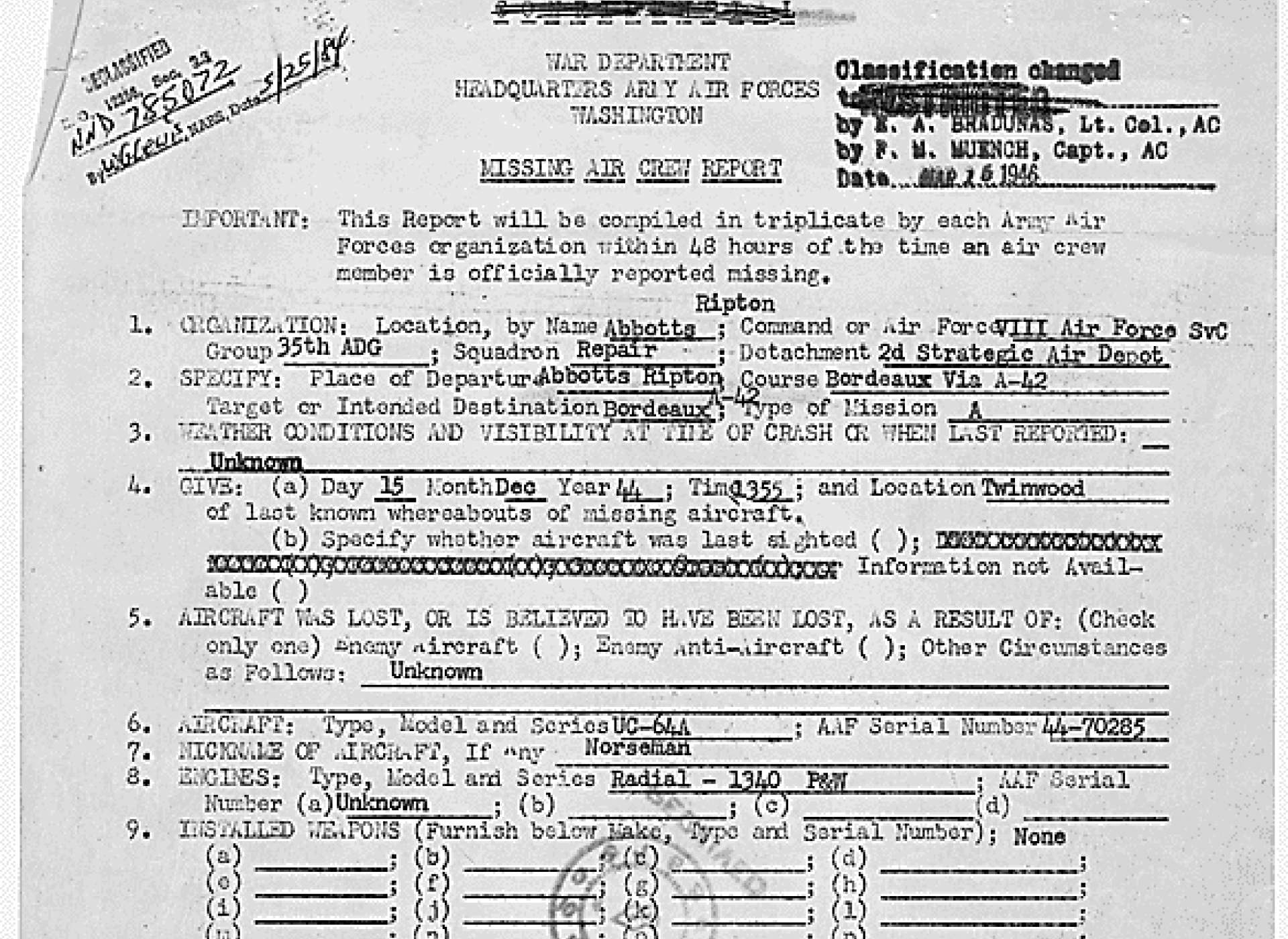 The top page from the Missing Air Crew Report, amended to add Miller and Baessell as passengers. Missing Air Crew Report No. 44-70285, the National Archives via Fold3.