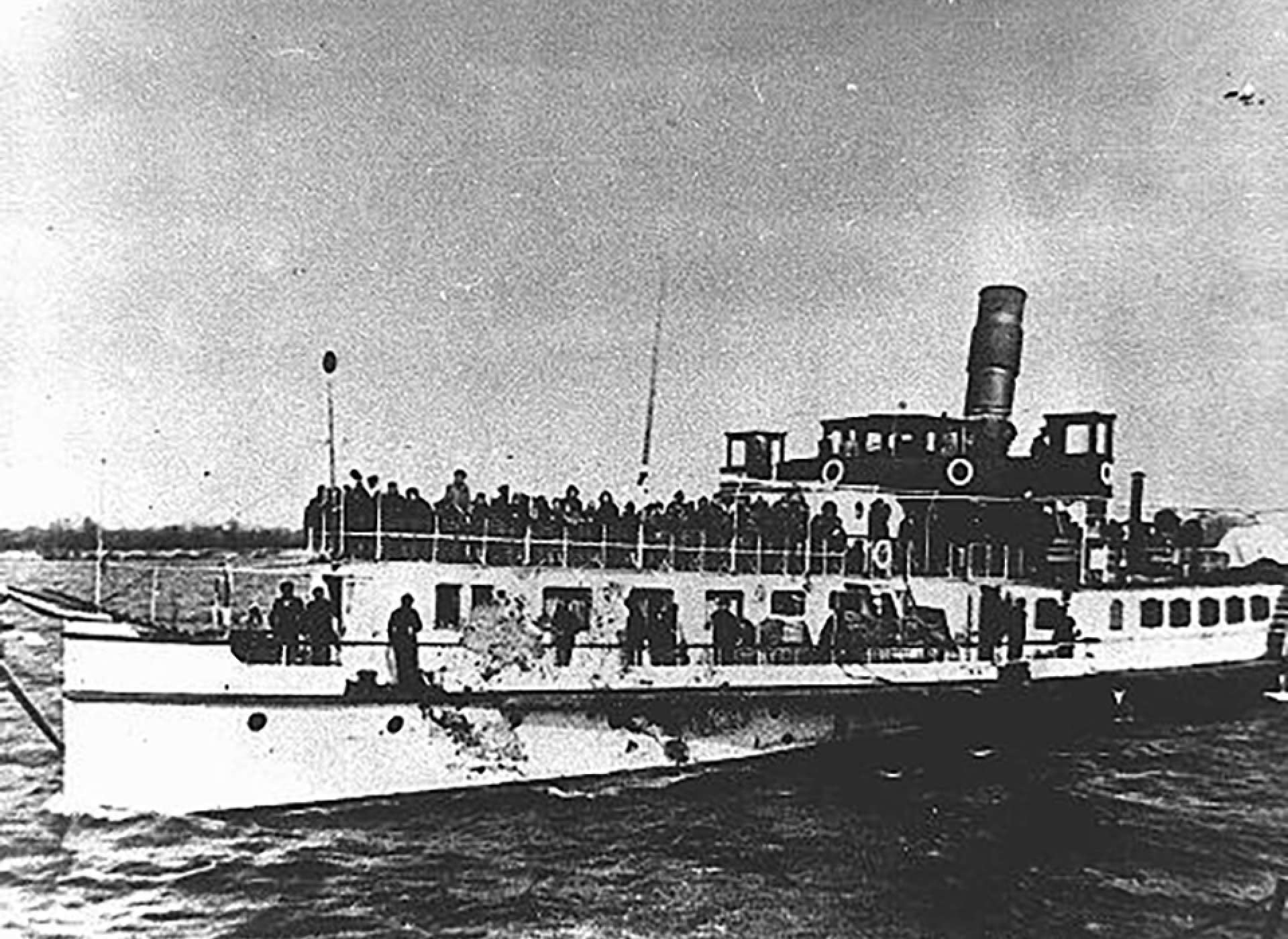 Deportation Ship Removing Jews from Bulgarian-Occupied Territory, March 1943. Eventually they would be sent to the Treblinka Death Camp. Courtesy of Jewish Historical Museum, Belgrade.