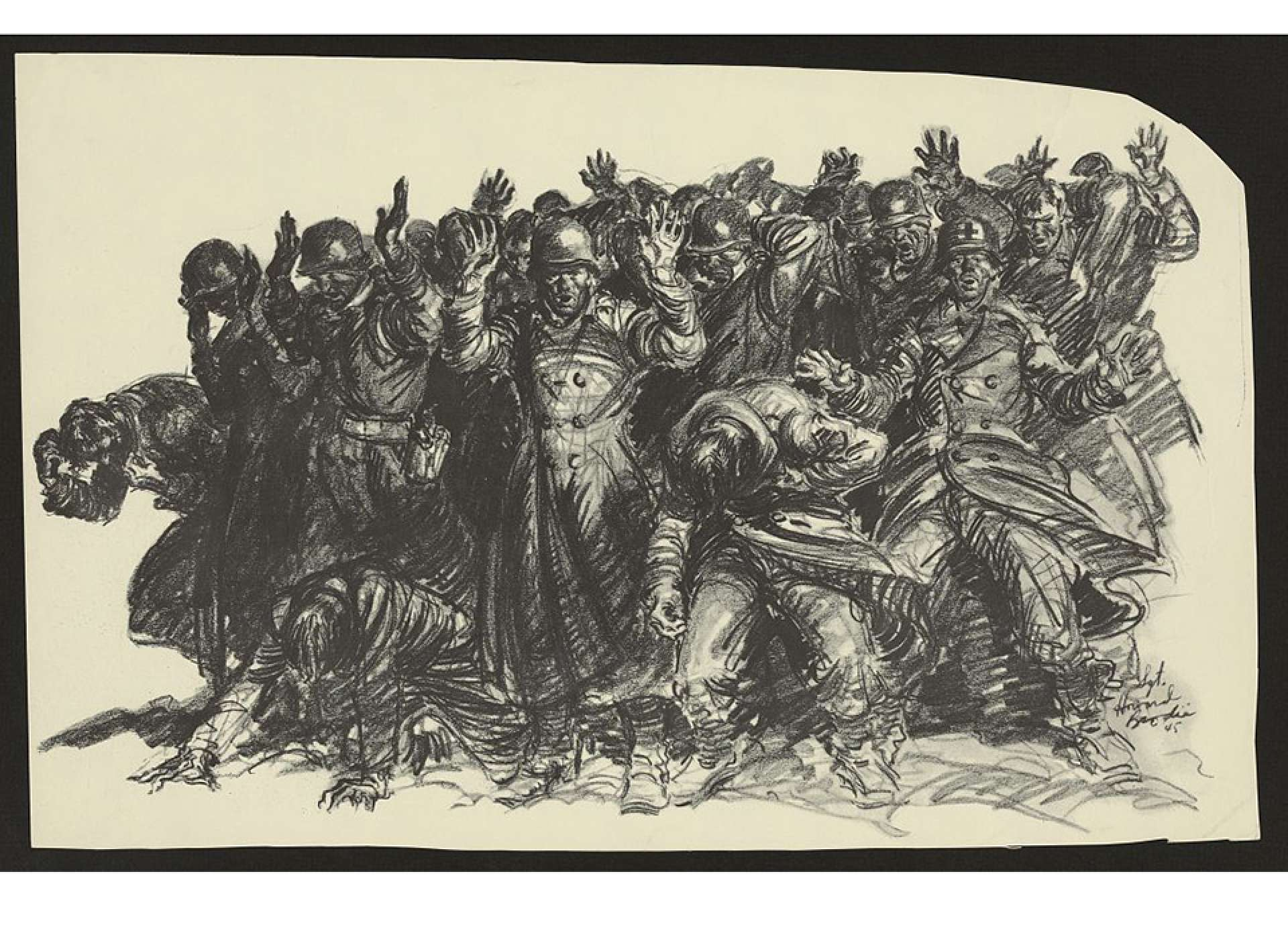 Image by Sgt. Howard Brodie of the last moments before the Malmedy Massacre, based on survivors' accounts. Library of Congress Prints and Photographs Division.