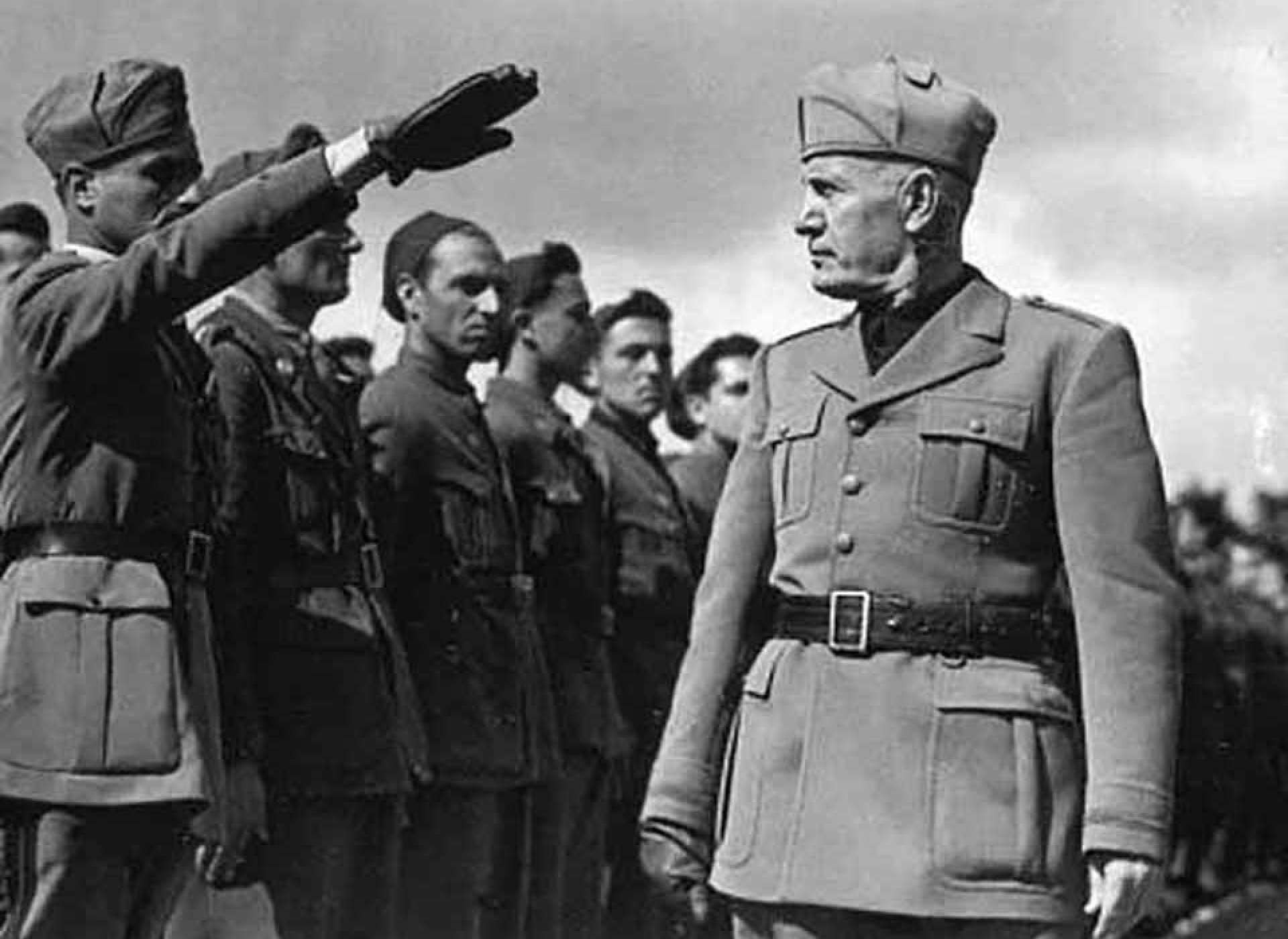 Mussolini Inspecting the Troops.