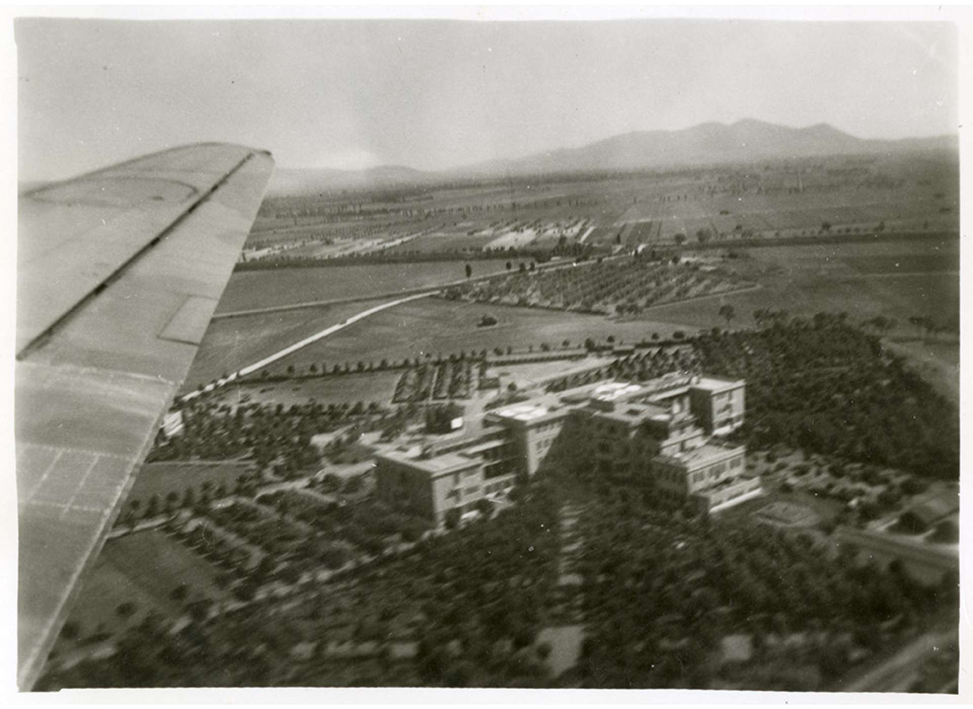 An aerial view of rear of the main building of the 24th General Hospital in Grosseto, Italy. The National WWII Museum.