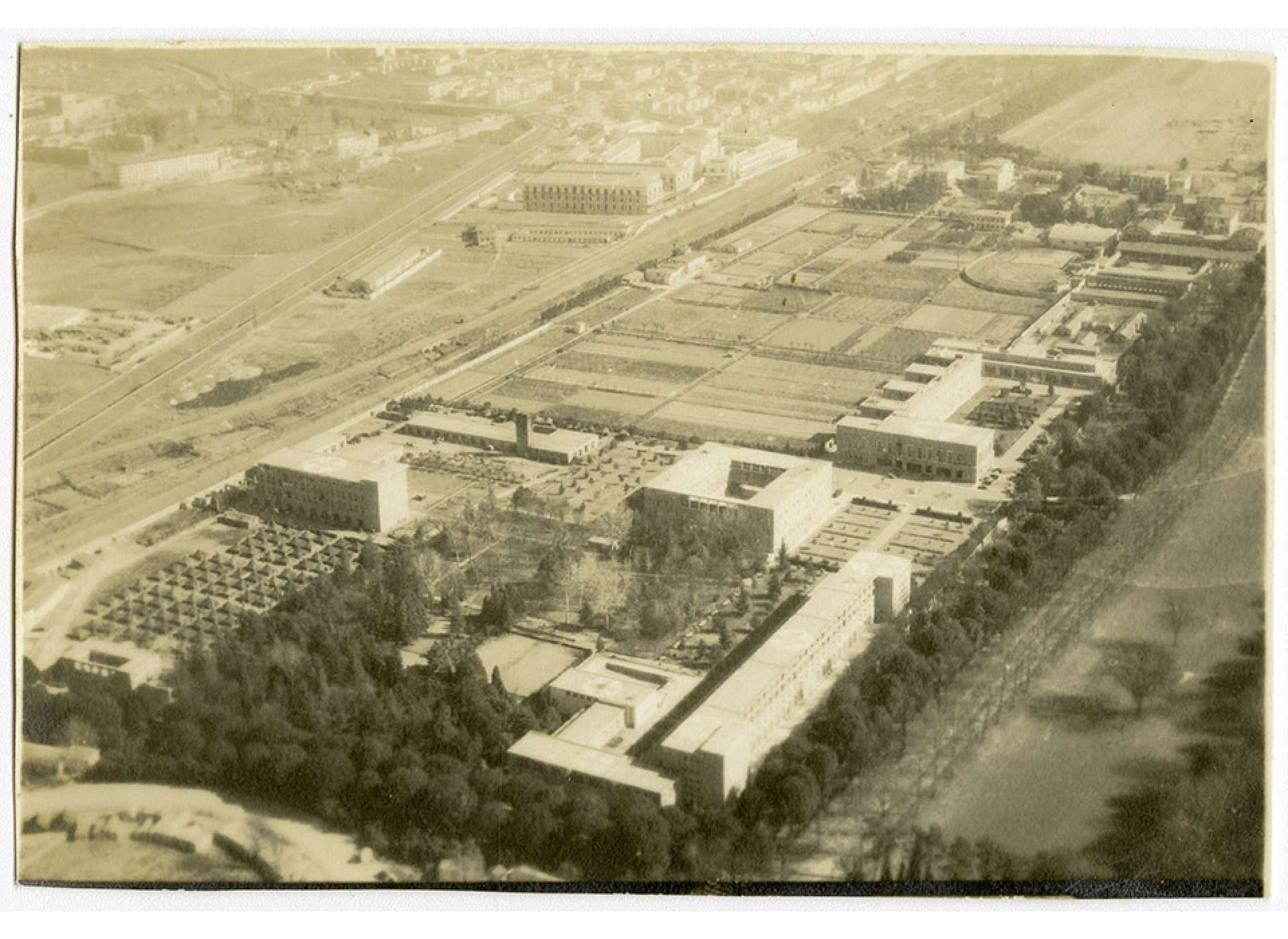 An aerial view of the former Mussolini School of Aviation, then serving as the 24th General Hospital in Florence, Italy. The National WWII Museum.