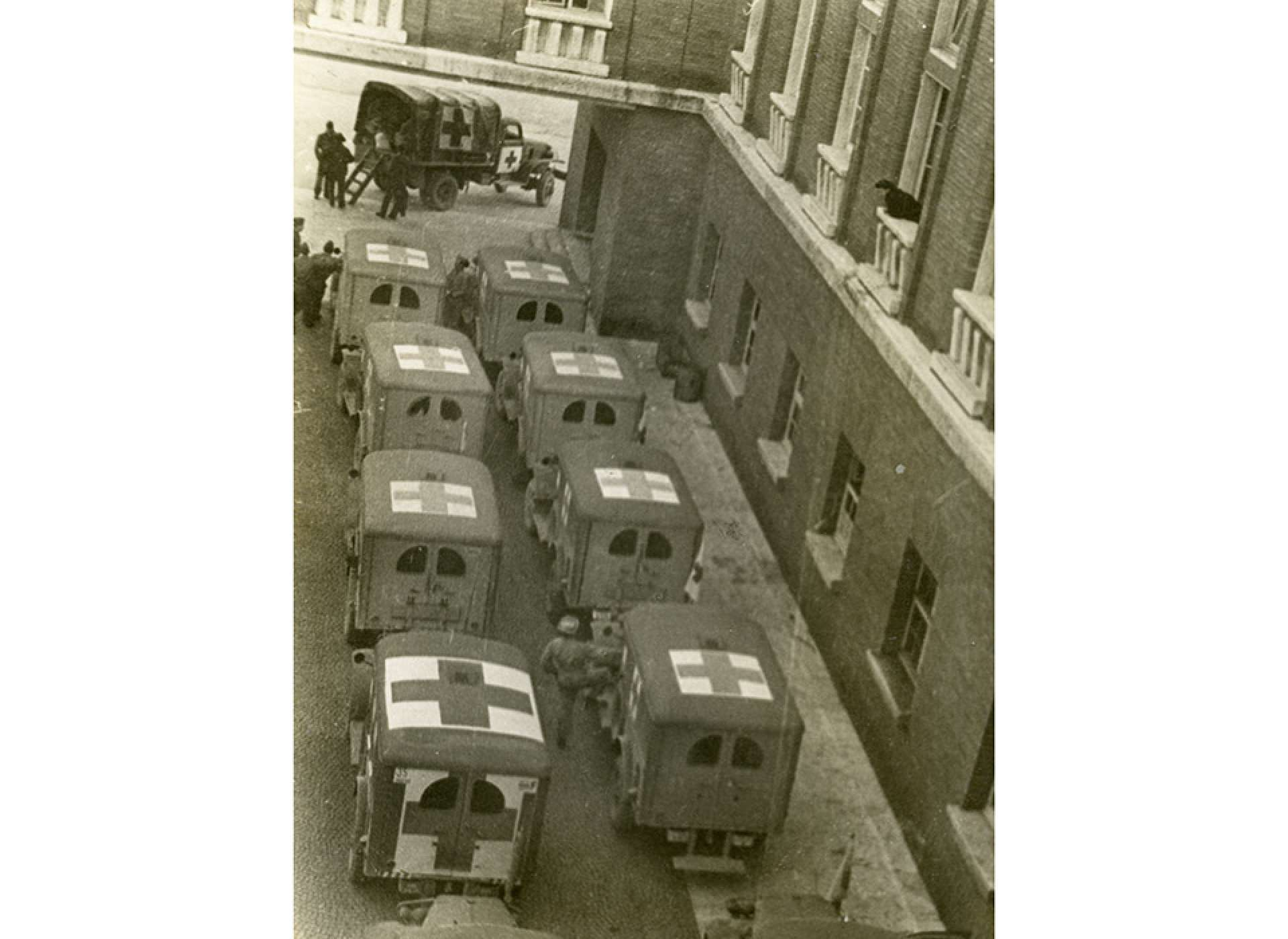 "Ambulances lined up outside of the hospital in Florence. The original caption echoes Lt. Col. Miller's experience there: ""Florence, pts (patients) in, pts out."" The National WWII Museum"