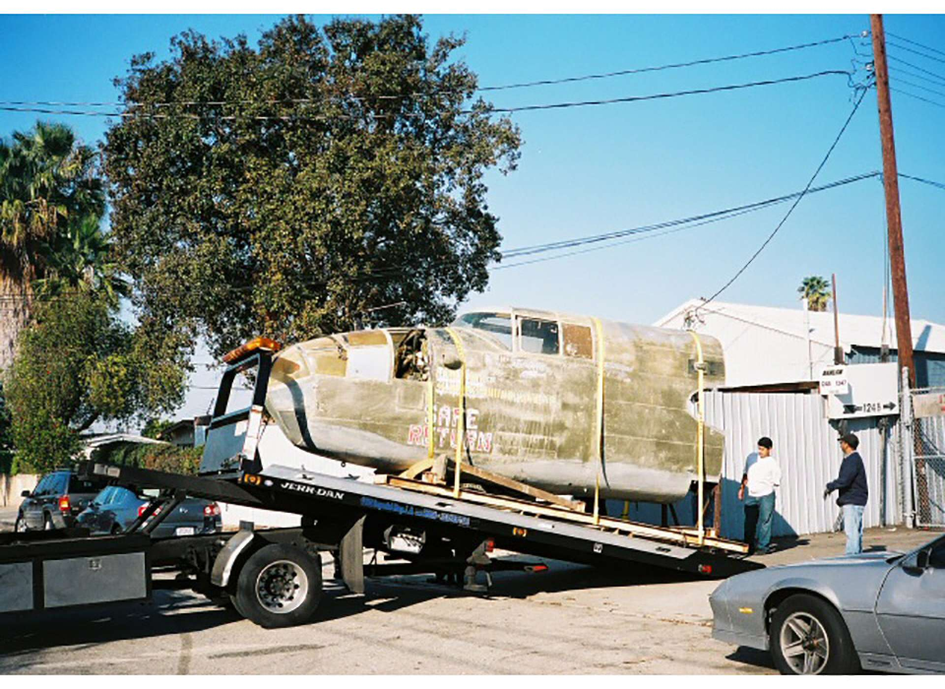 B-25 moves to the restoration facility.