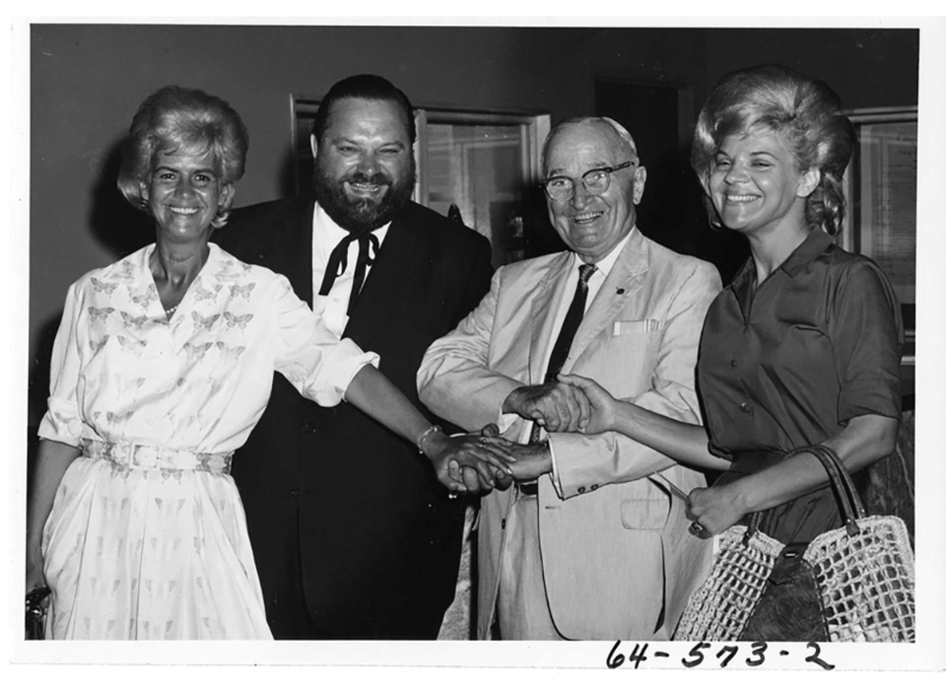 Former President Harry S. Truman and Al Hirt and family in the Harry S. Truman Library. July 19,1963 Courtesy: Harry S. Truman Library and Museum.