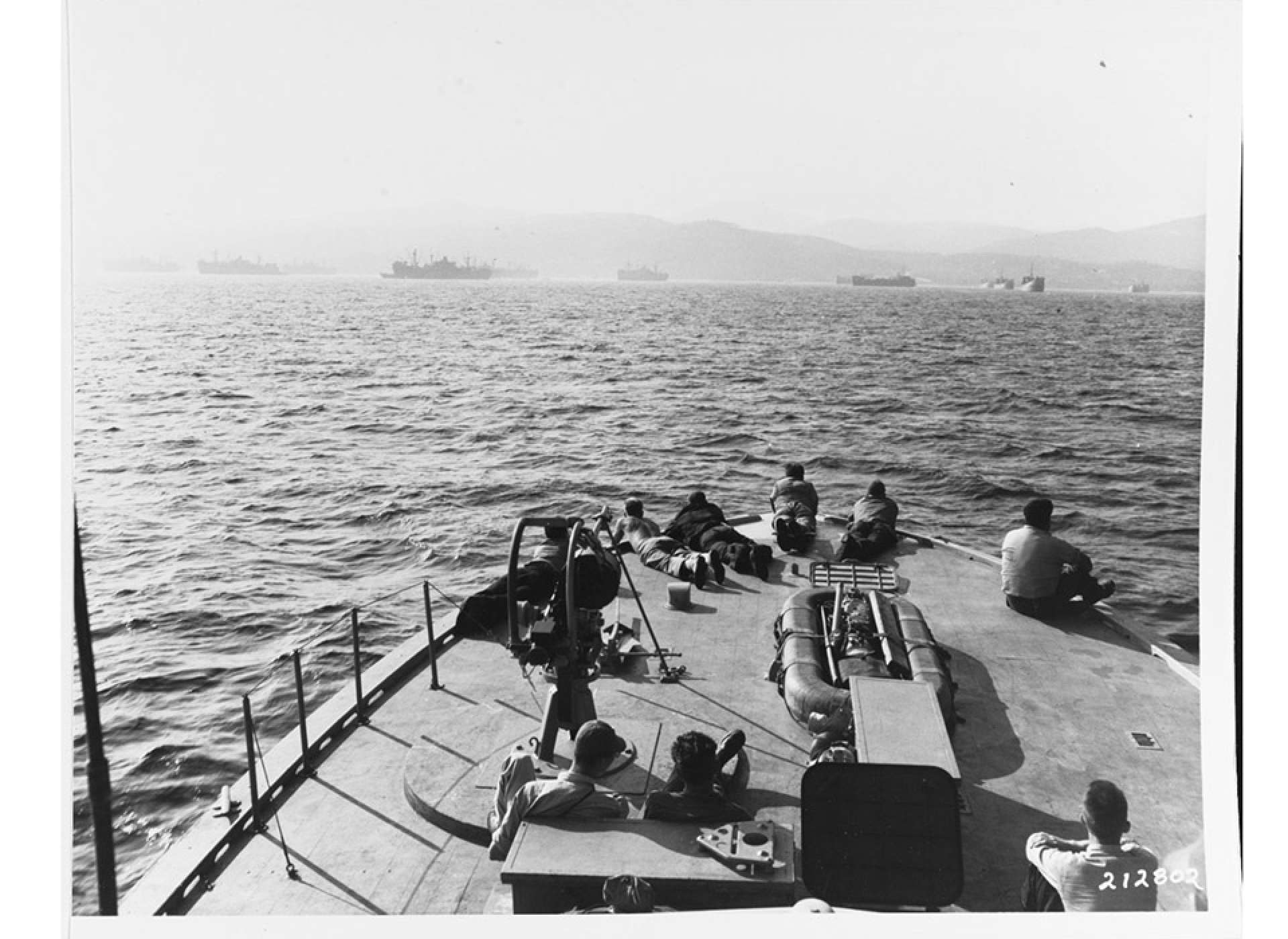An ELCO PT boat of Squadron 29 approaches the invasion beaches in Southern France.