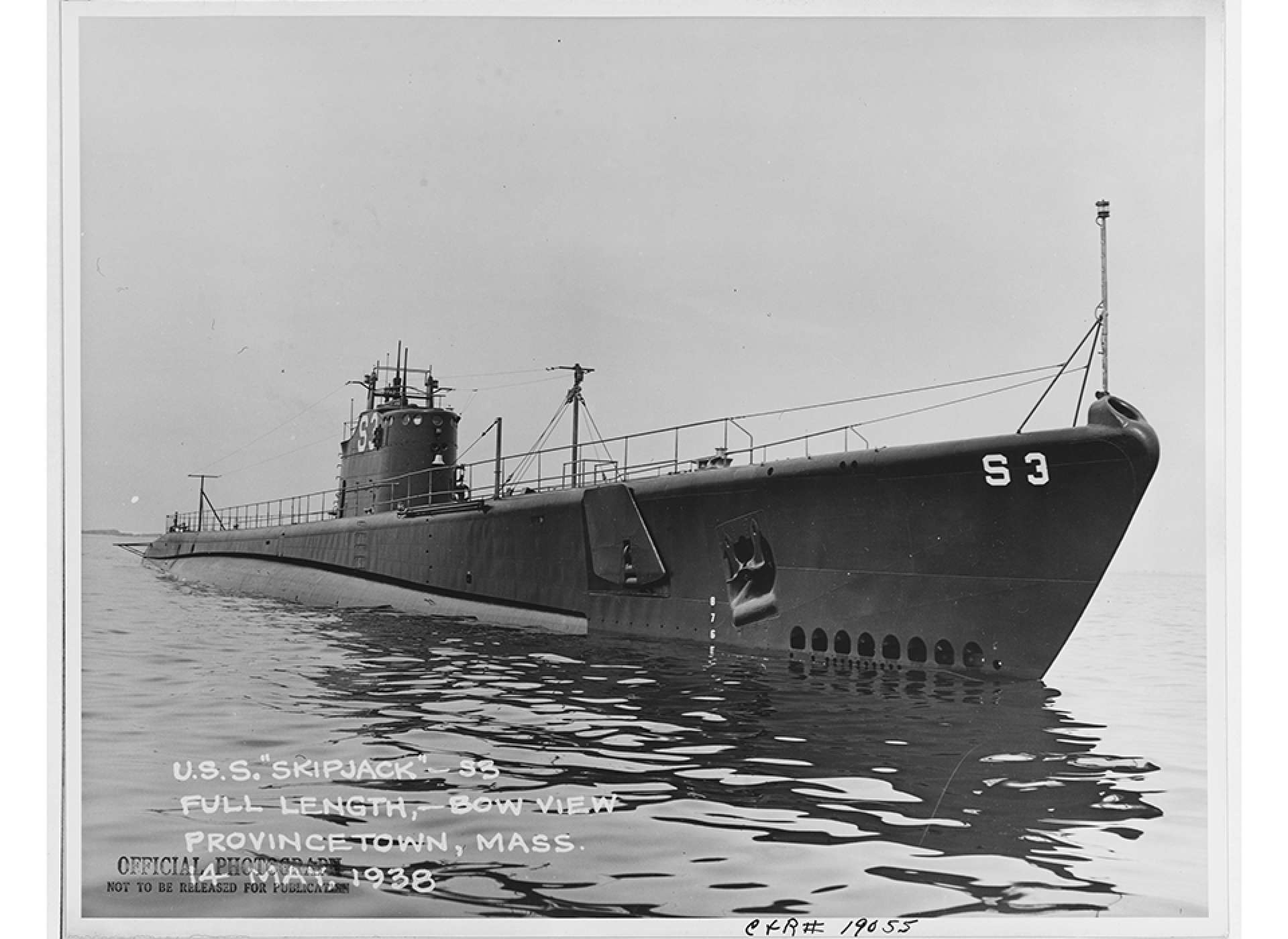 USS Skipjack during her sea trials in 1938. Courtesy of Naval History and Heritage Command.