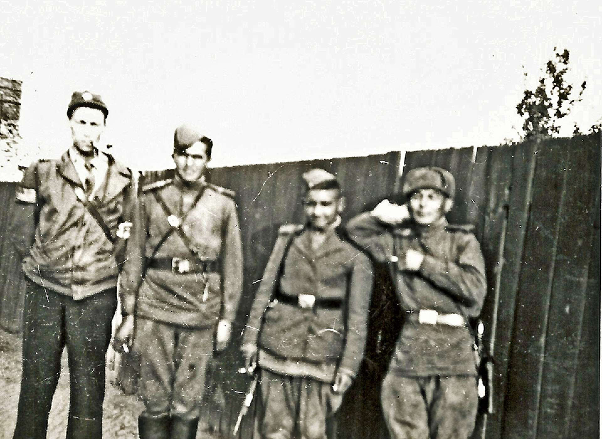 "Former POW Dick Terrell with Russian soldiers in Stalag Luft I: Gift in Memory of William Richard ""Dick"" Terrell, 2019.079"