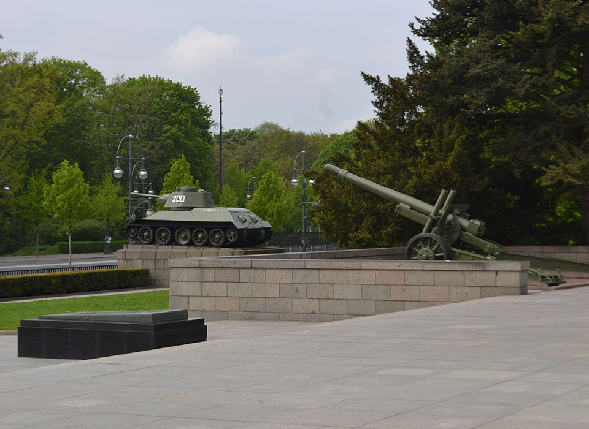 Soviet T-34 tank and ML 20 howitzer gun in the Tiergarten, Berlin Courtesy Keith Huxen, PhD
