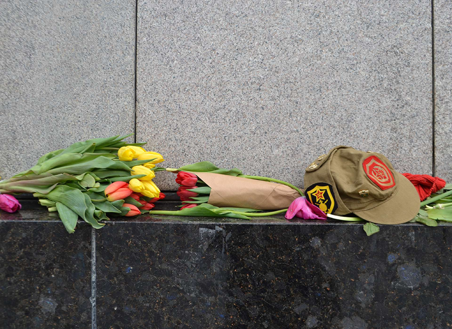 Flowers left at the Tiergarten Soviet War Memorial in memory of the Battle of Berlin Courtesy Keith Huxen, PhD