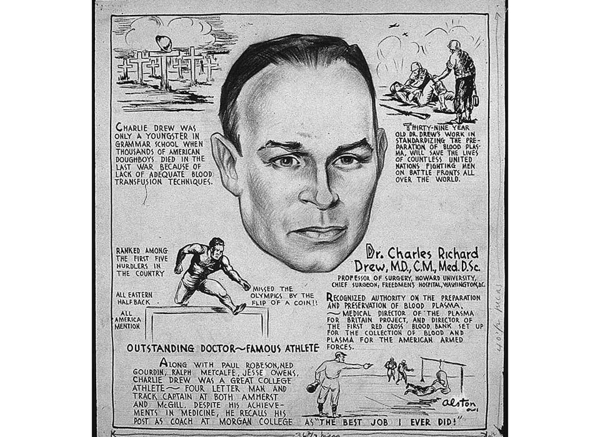 A summary of the life of Charles Drew by artist Charles Alston, 1943; NARA 535693.