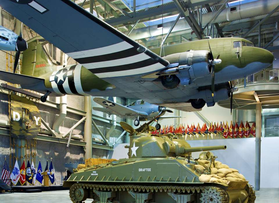 C-47 and Sherman Tank, Louisiana Memorial Pavilion interior