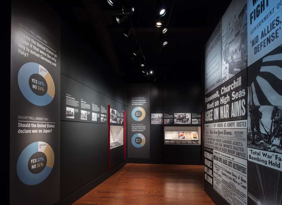 Discordant Voices gallery Gallup polls wall, Arsenal of Democracy