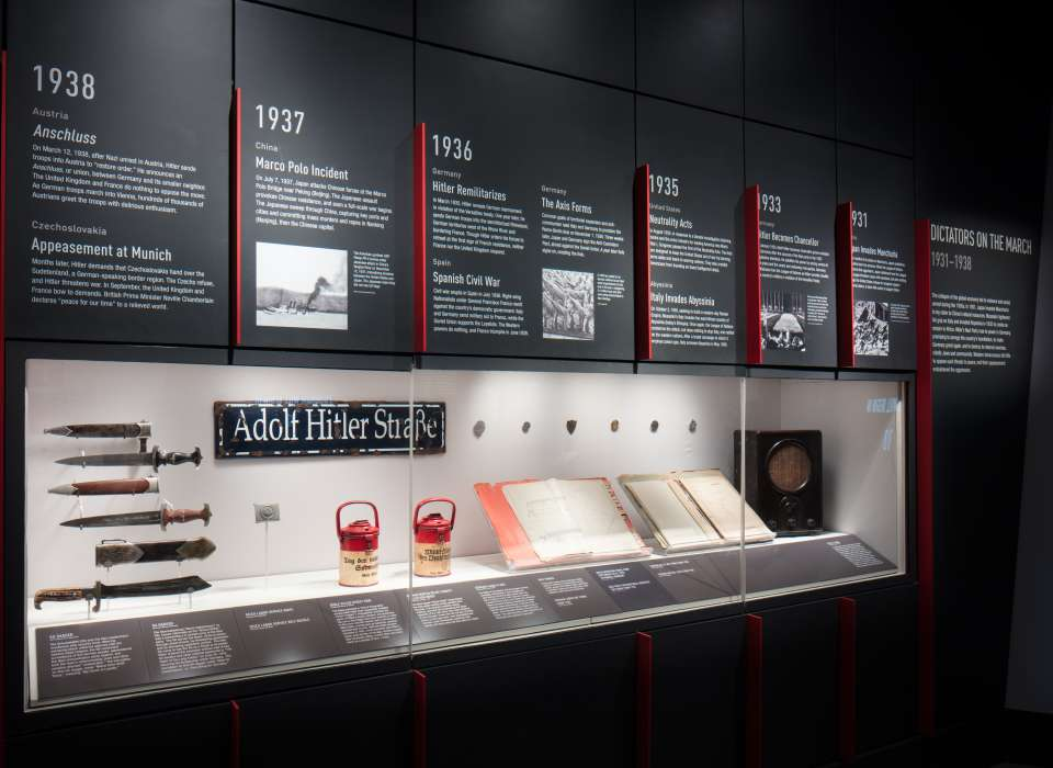 Gathering Storm gallery timeline panels and knives, Arsenal of Democracy
