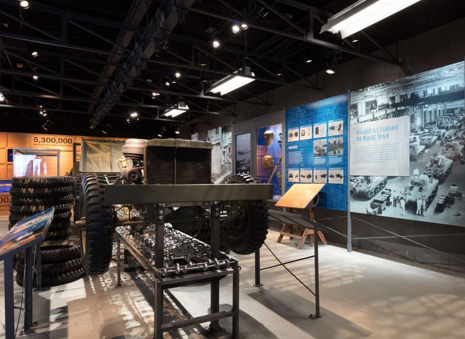 Manufacturing Victory gallery, Manufacturing to Wage War panel and jeep, Arsenal of Democracy
