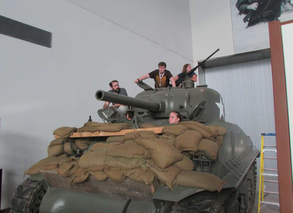 Student Leadership Academy students in Sherman tank